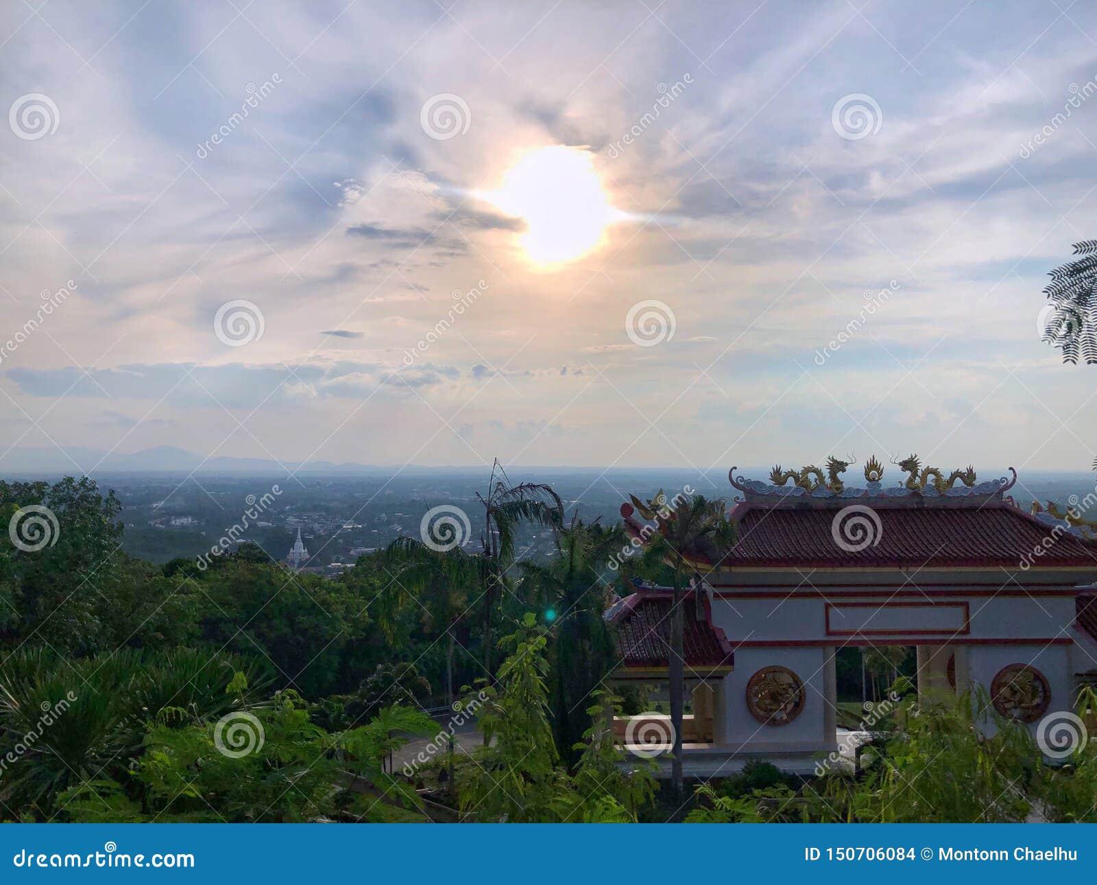 Vectorillustratie, grappige Aap chimpanzeeLandscape van hoge mening met blauwe hemel