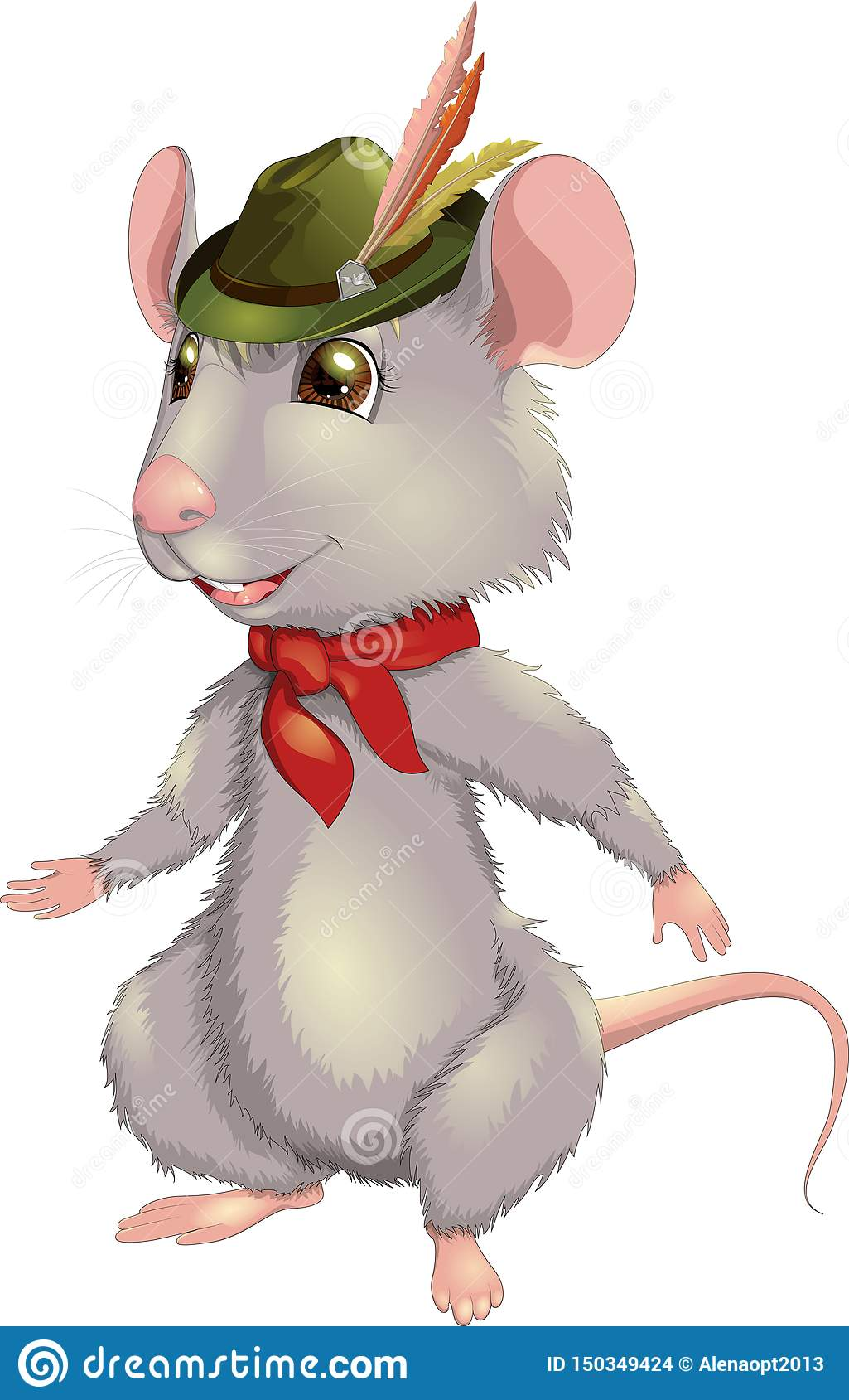 Vectorillustratie het glimlachen rat met een hoed