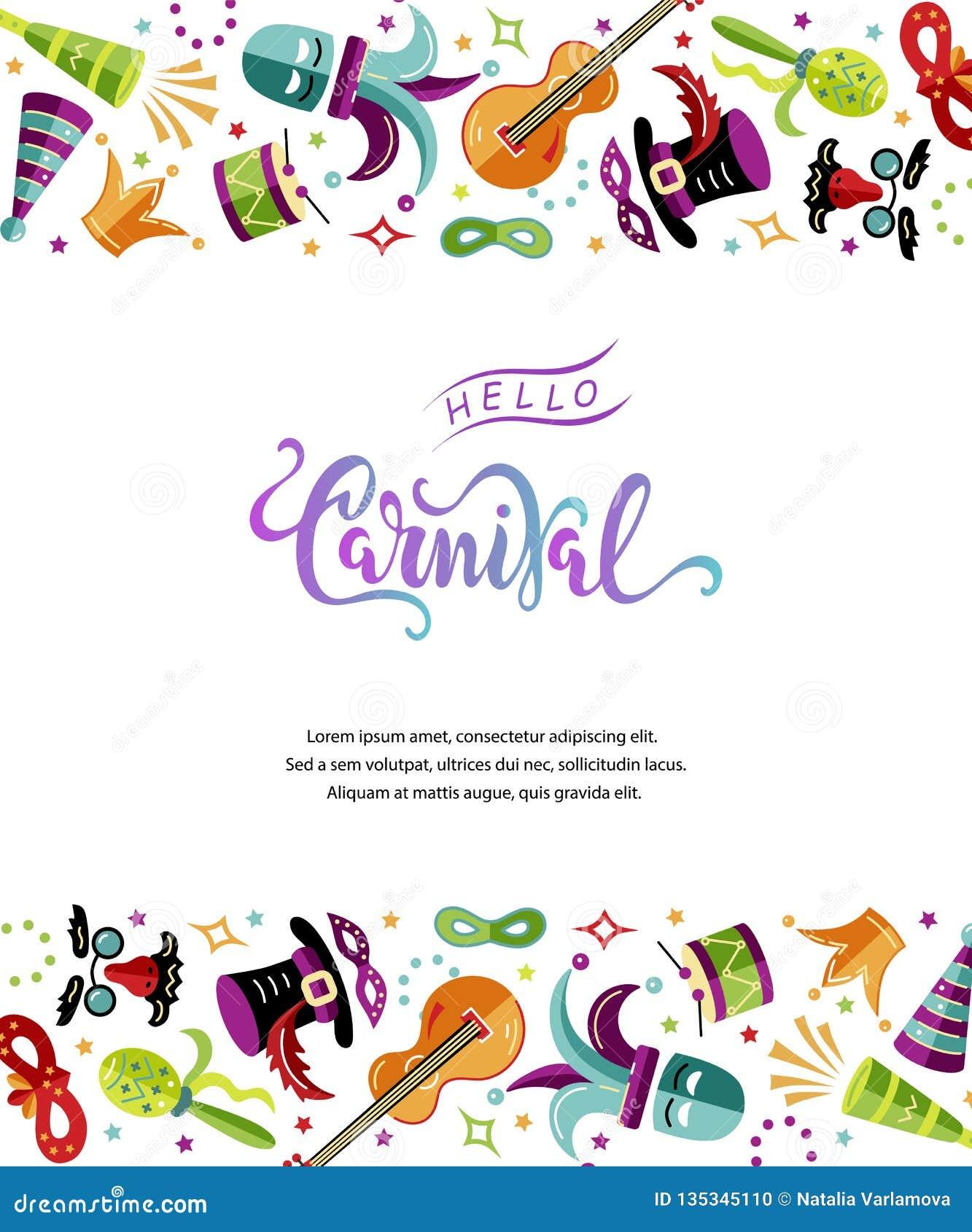 Vectorillustratie met Carnaval en feestvoorwerpen