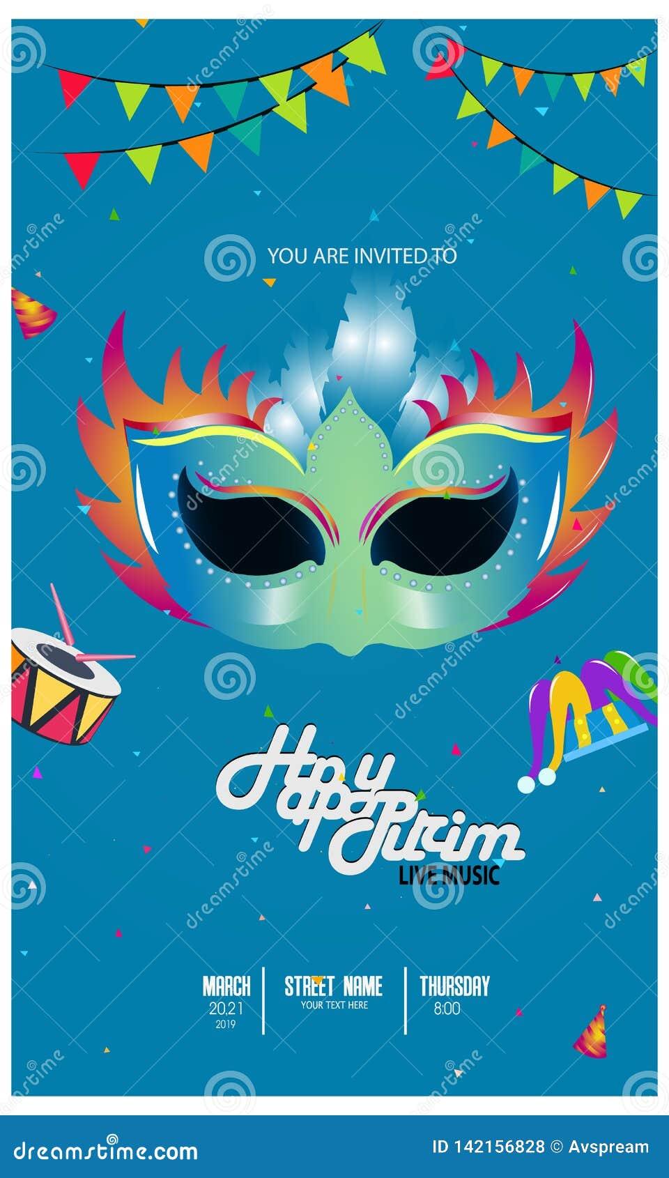 Vectorillustratie met Carnaval en feestvoorwerpen Malplaatje voor Carnaval,