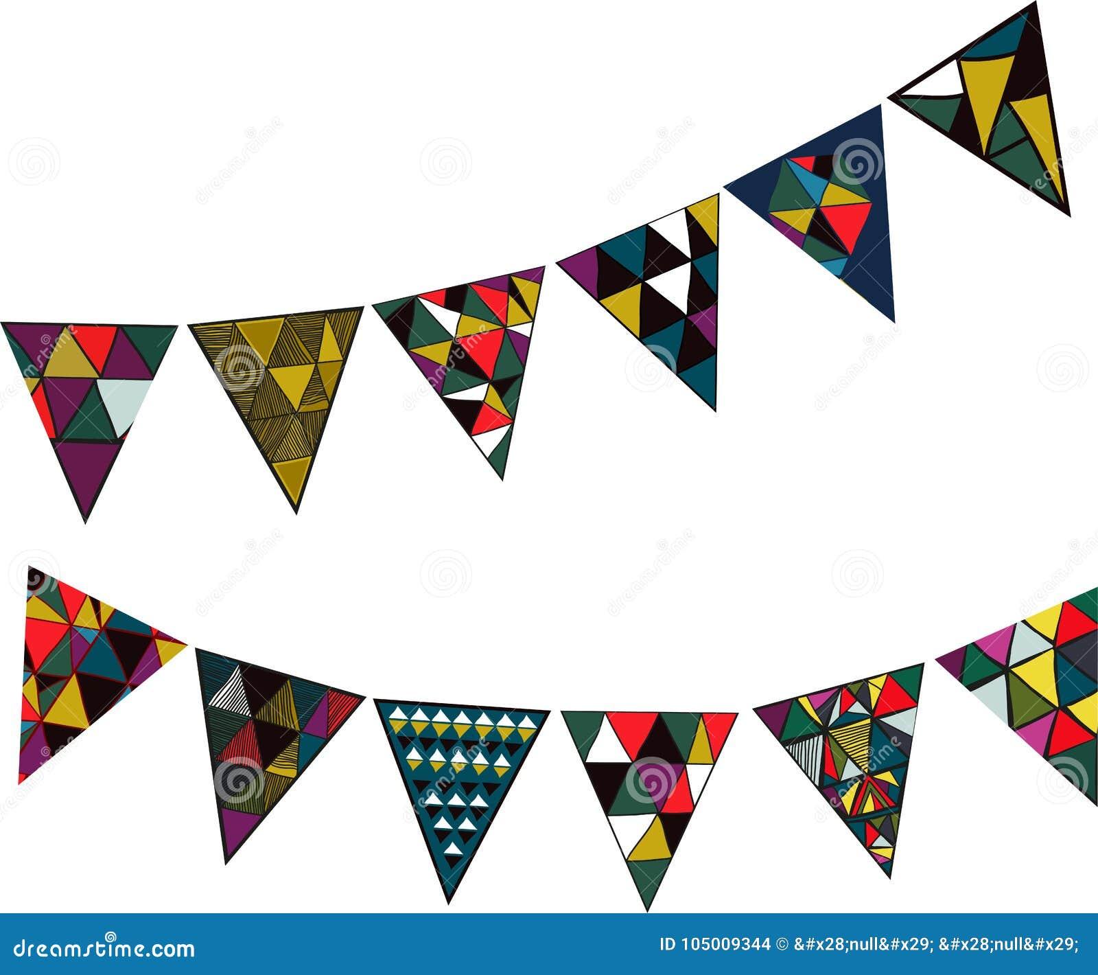 Vectorillustratie met decoratieve feestvlaggen voor partijen en vakantie