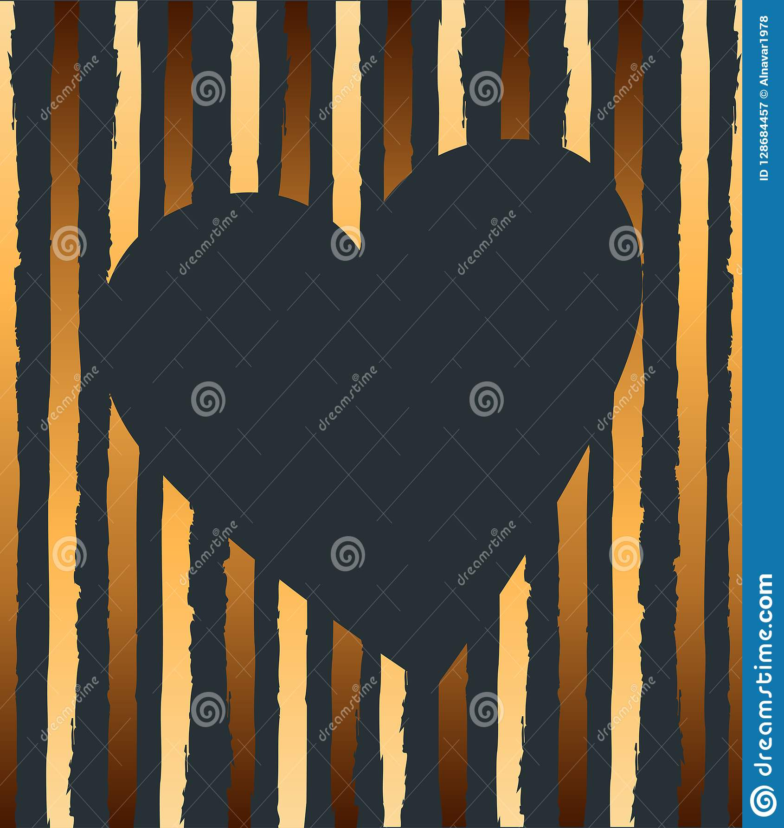 Vectorillustratie met hart en gouden strepen