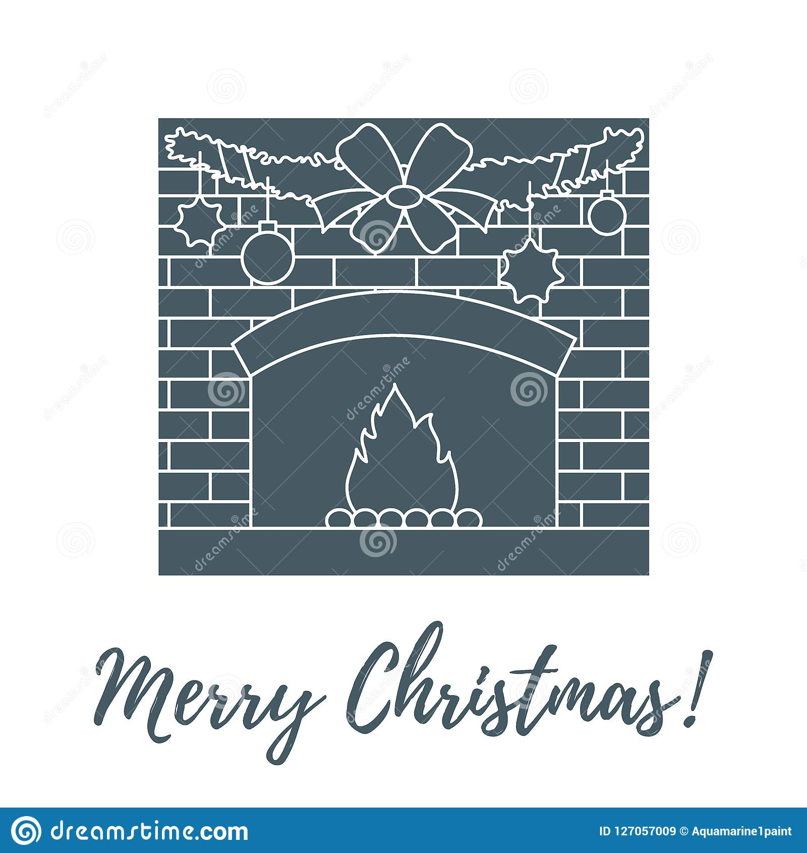 Vectorillustratie met ontstoken open haard, slinger, Kerstmis B Stock Illustratie