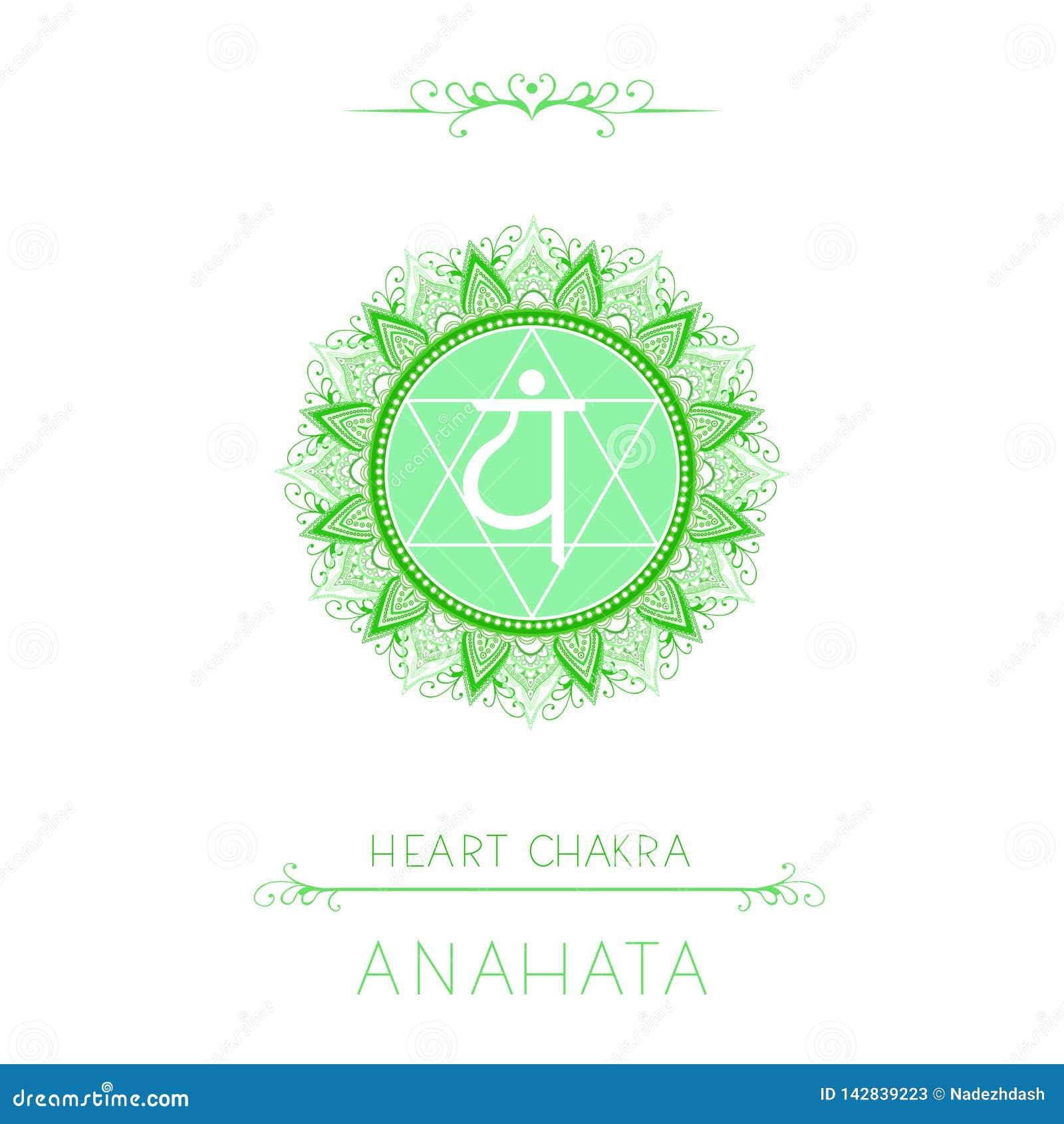 Vectorillustratie met symbool Anahata - Hartchakra en decoratieve elementen op witte achtergrond