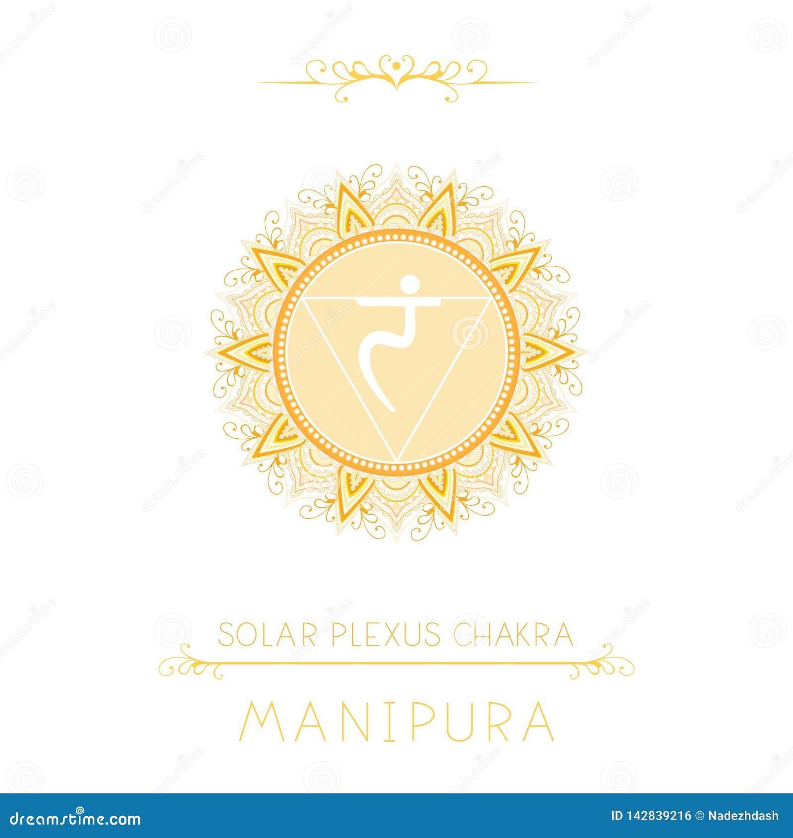 Vectorillustratie met symbool Manipura - Zonnevlechtchakra en decoratieve elementen op witte achtergrond