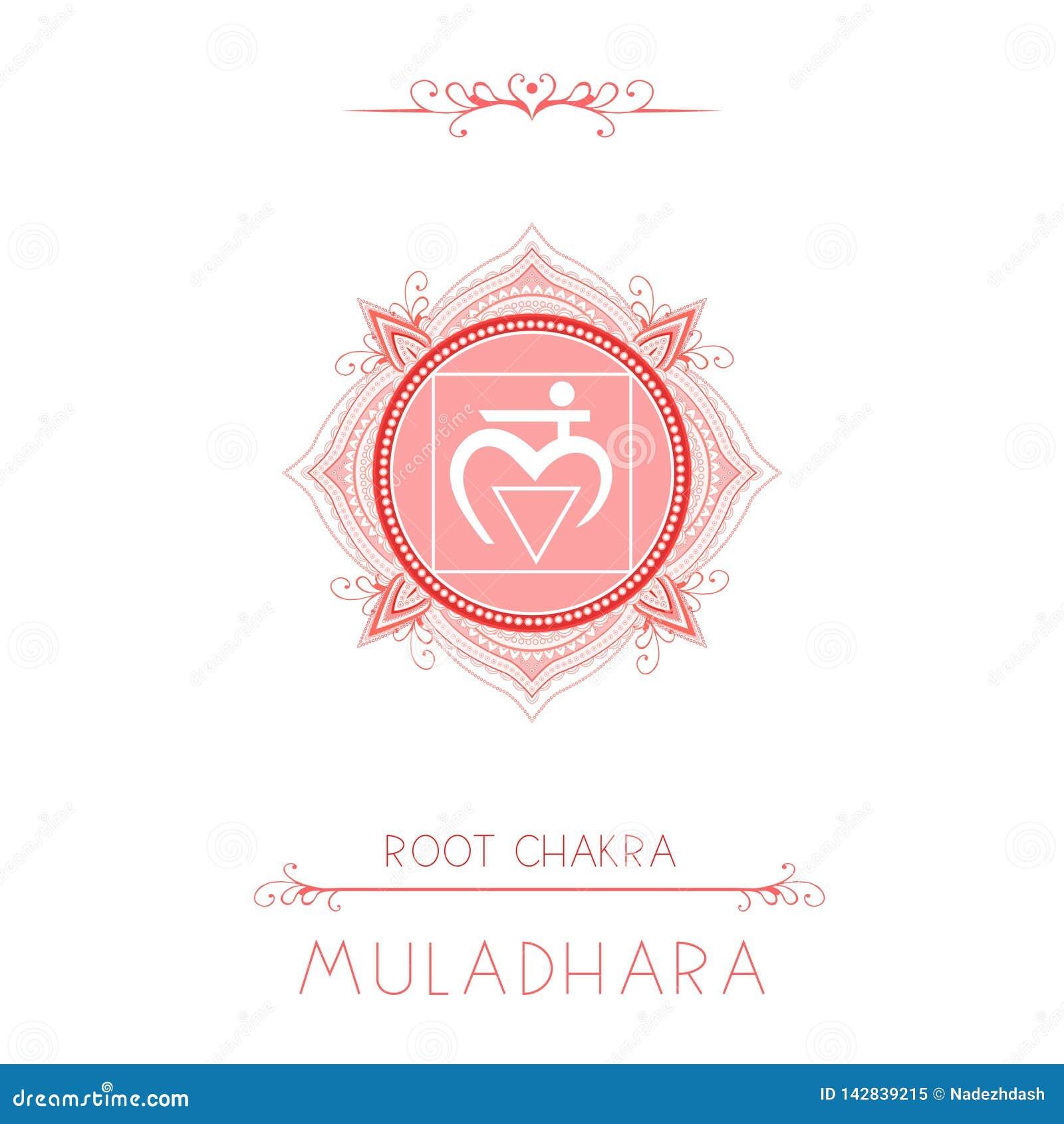 Vectorillustratie met symbool Muladhara - Wortelchakra en decoratieve elementen op witte achtergrond