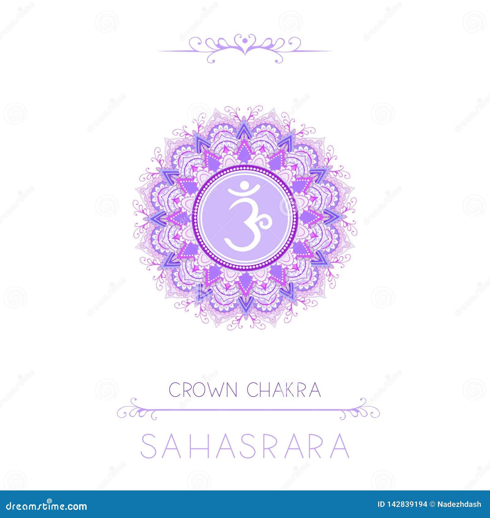 Vectorillustratie met symbool Sahasrara - bekroon chakra en decoratieve elementen op witte achtergrond