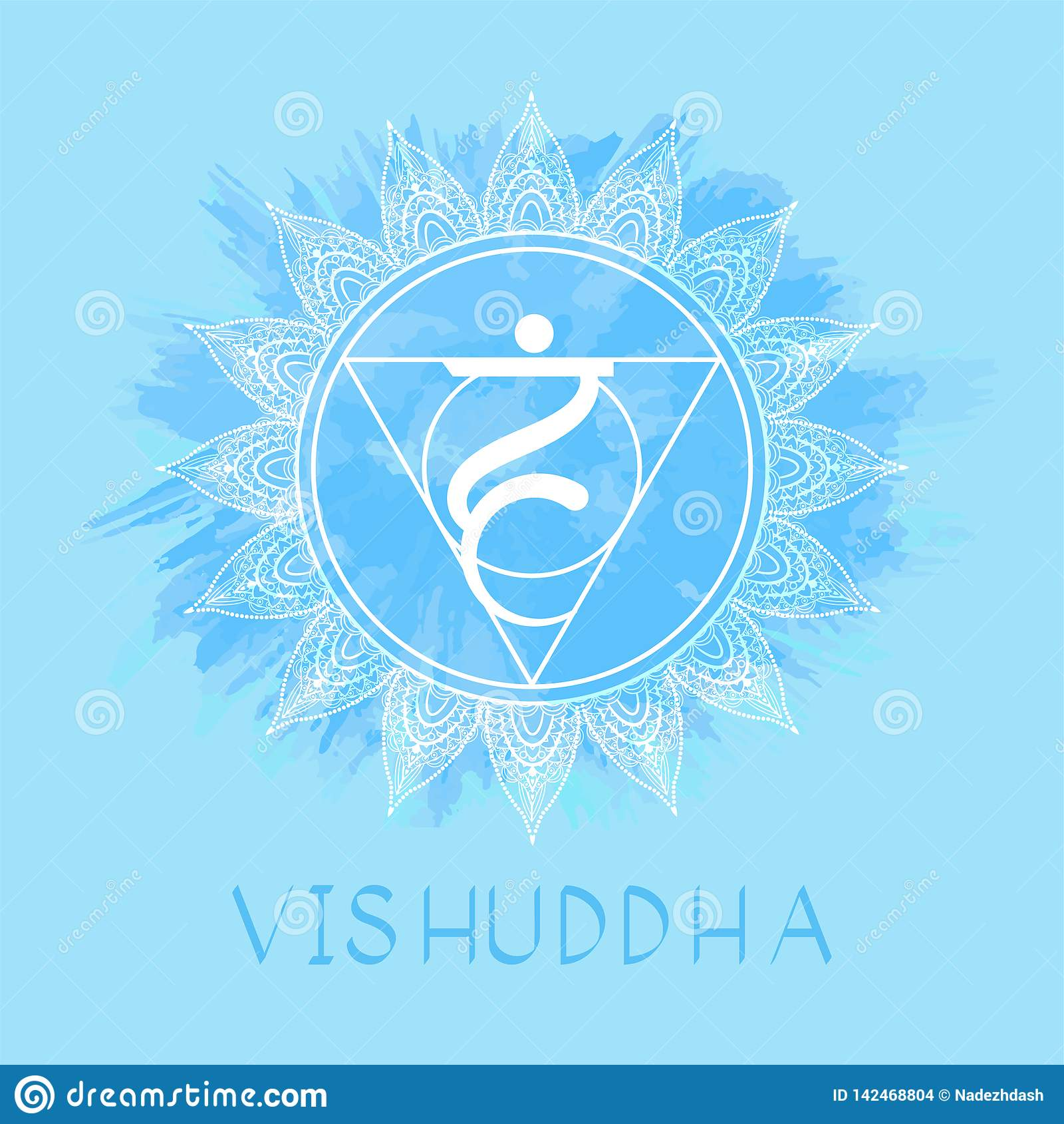 Vectorillustratie met symbool Vishuddha - Keelchakra op waterverfachtergrond