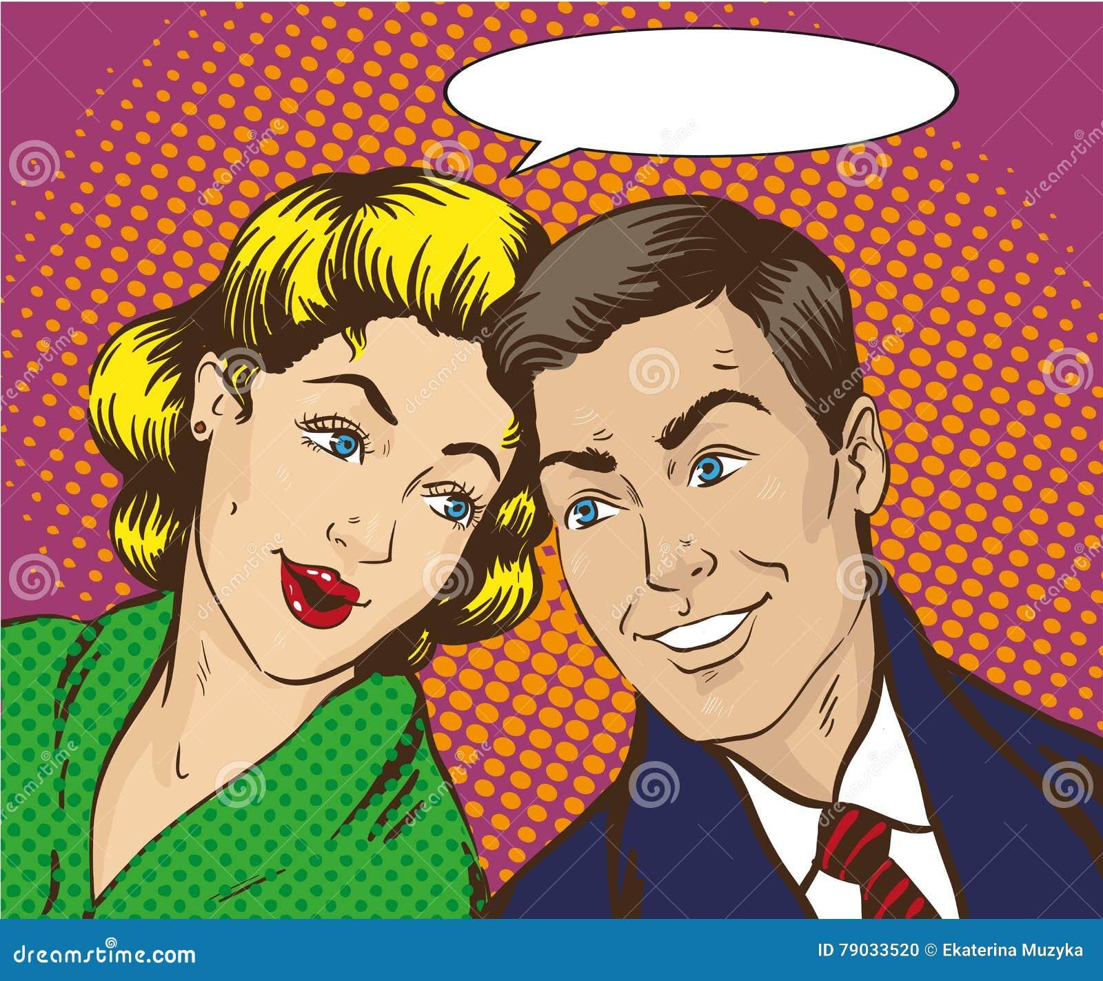 Vectorillustratie in Pop Art Style Vrouw en man bespreking aan elkaar Retro grappig Roddel, geruchtenbesprekingen
