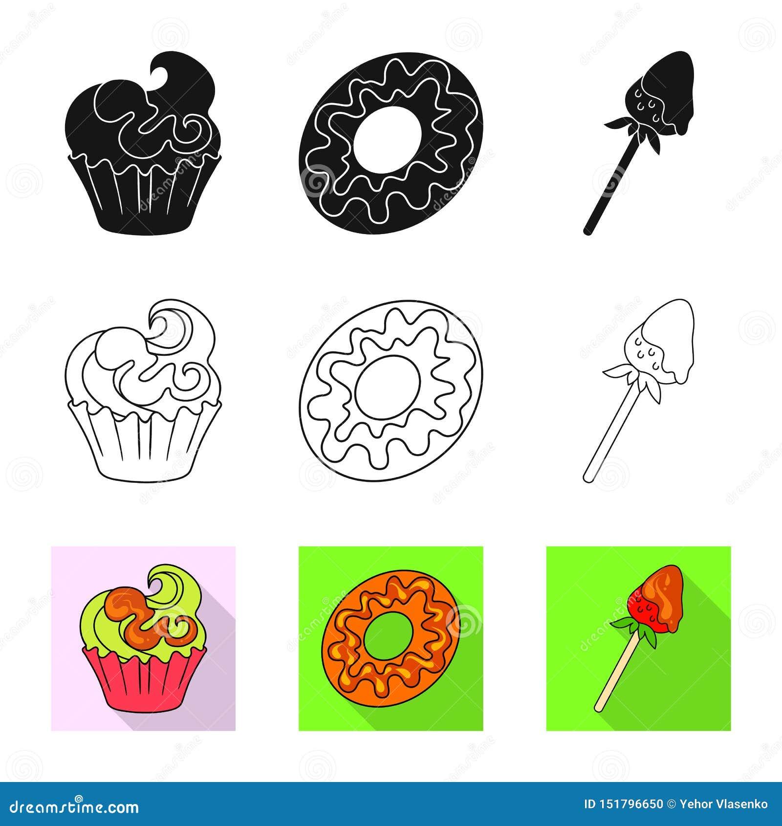 Vectorillustratie van banketbakkerij en culinair pictogram Inzameling van banketbakkerij en productvoorraadvector