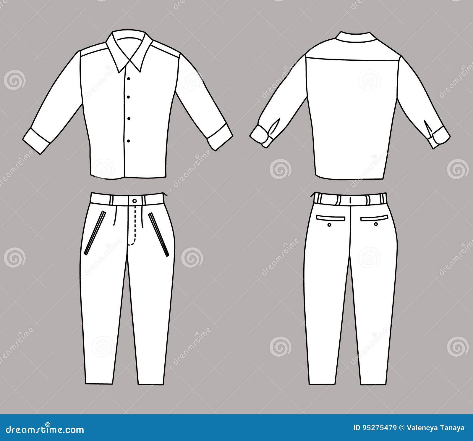 Vectorillustratie van Bedrijfsoverhemd en Broek, Voor en Achtermeningen