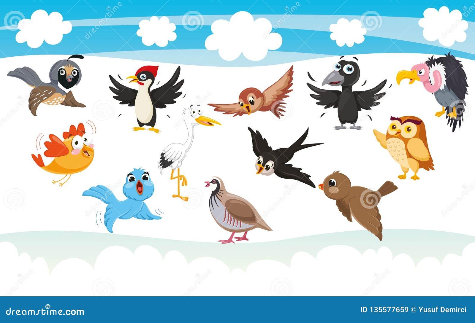 Vectorillustratie van Beeldverhaalvogels