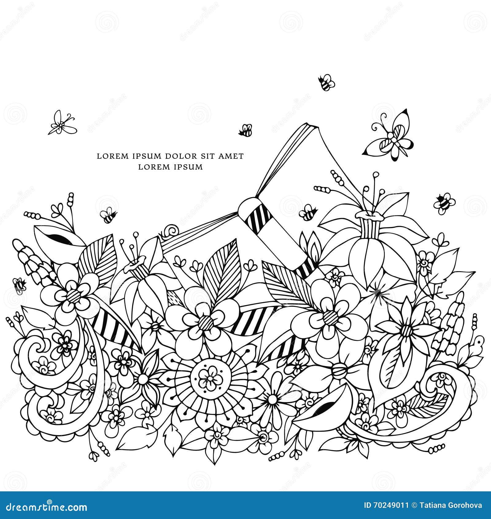 Vectorillustratie van bloemenkader zentangle, het doodling Zenart, krabbel, bloemen, mooie vlinders, gevoelig,