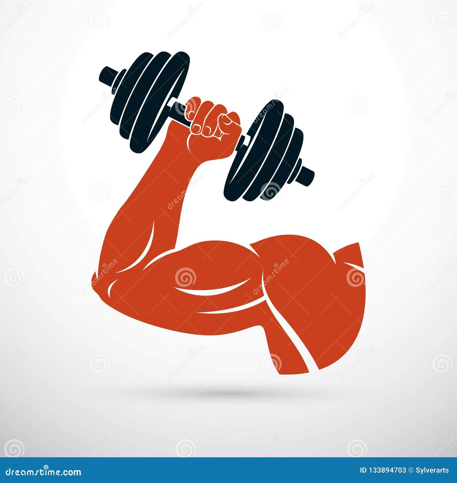 Vectorillustratie van de holdingsdomoor van het bodybuilder spierwapen