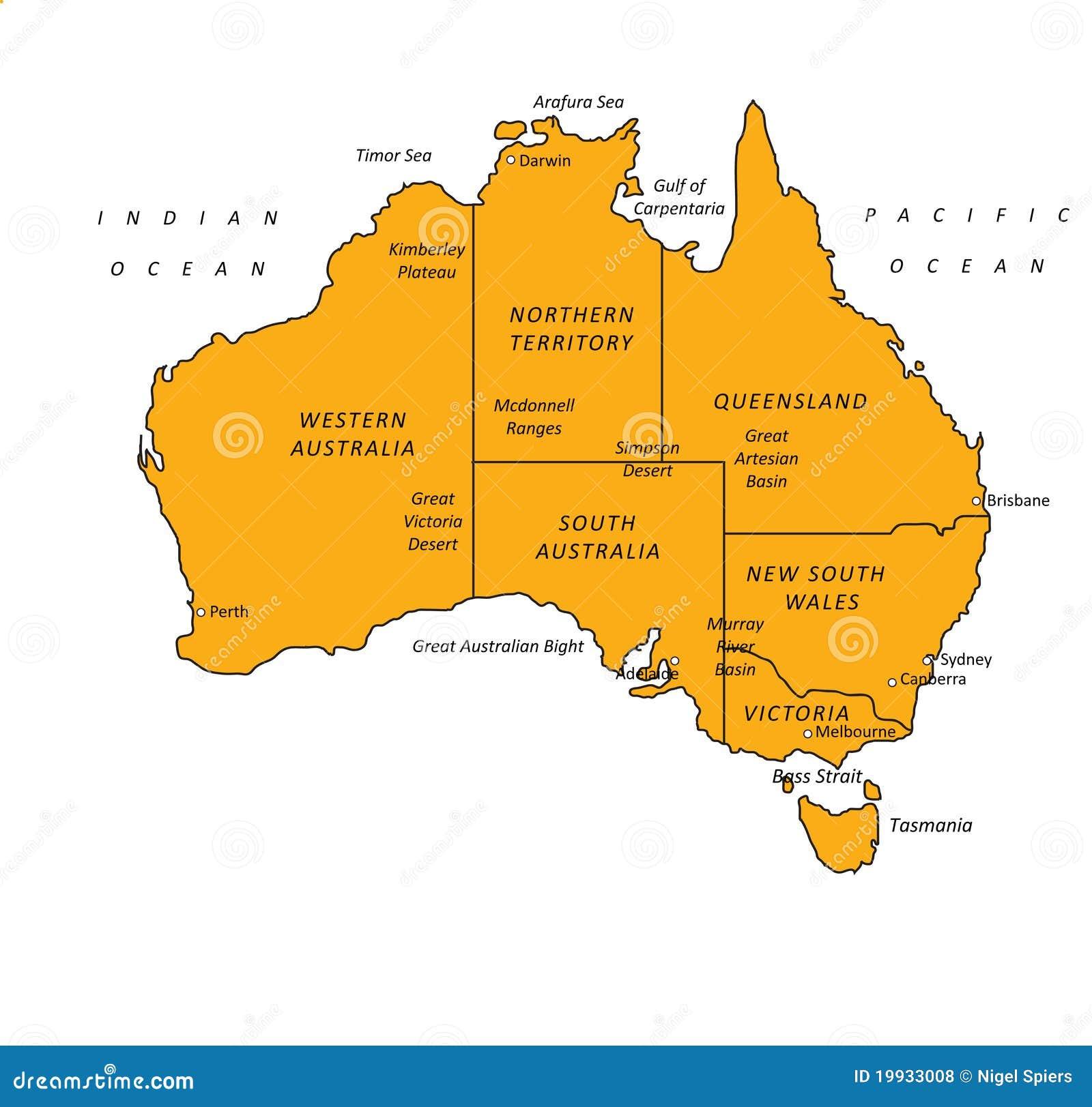 VectorIllustratie van de Kaart van Australië de Oranje