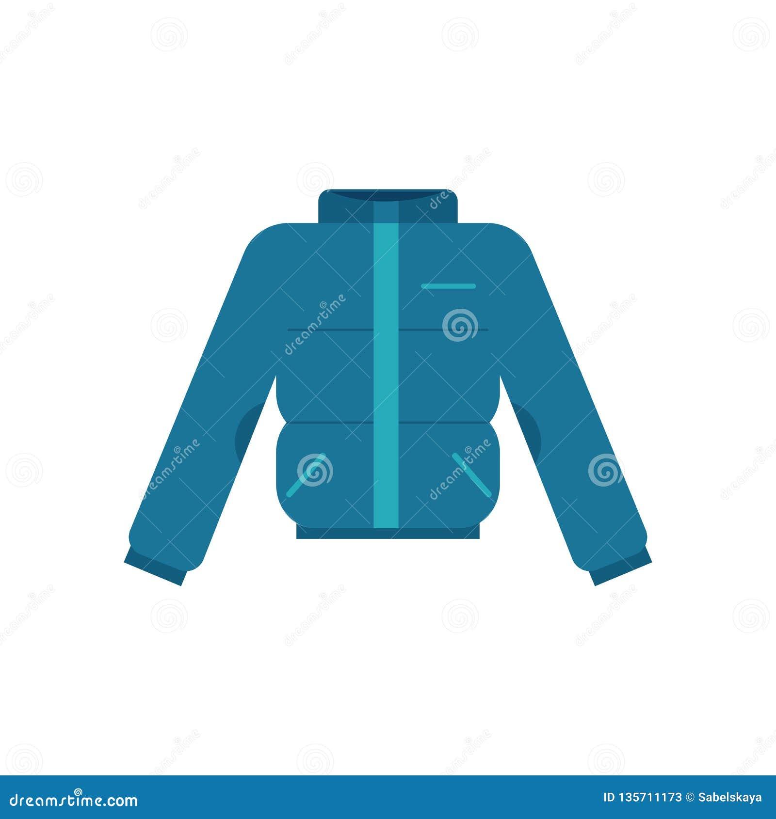 Vectorillustratie van de winter geblazen jasje in vlakke stijl - warme thermische doek geïsoleerd op witte achtergrond