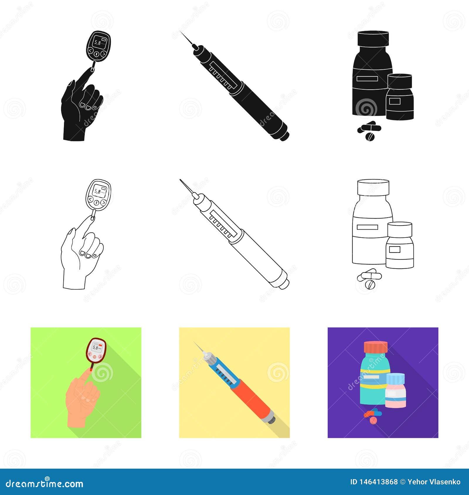 Vectorillustratie van dieet en behandelingsembleem Inzameling van dieet en de vectorillustratie van de geneeskundevoorraad