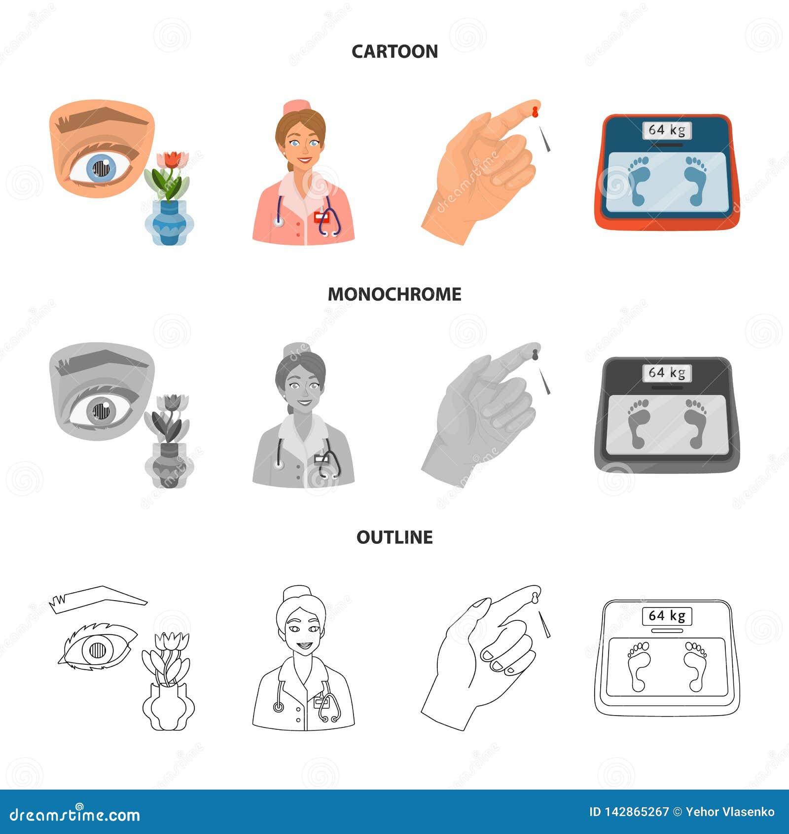Vectorillustratie van dieet en behandelingsteken Inzameling van dieet en geneeskunde vectorpictogram voor voorraad