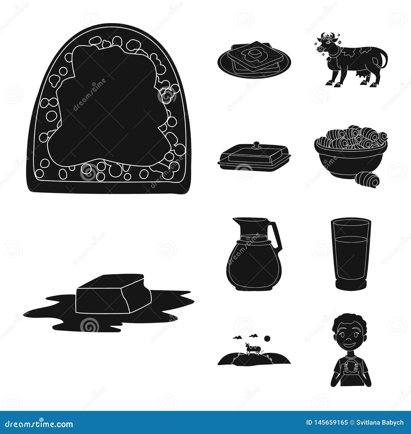 Vectorillustratie van dieet en landbouwbedrijfembleem Inzameling van dieet en zuivelvoorraadsymbool voor Web