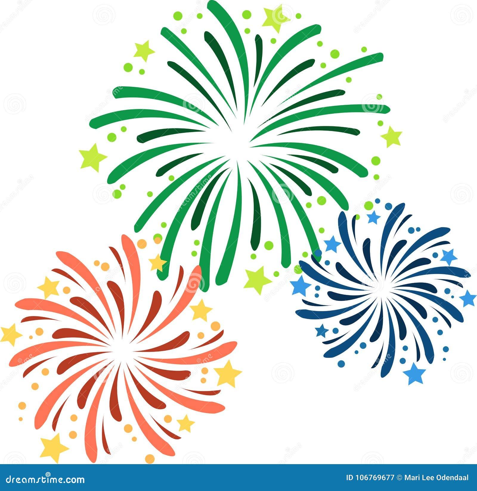 Vectorillustratie van divers vuurwerk op Nieuwjaar` s Vooravond