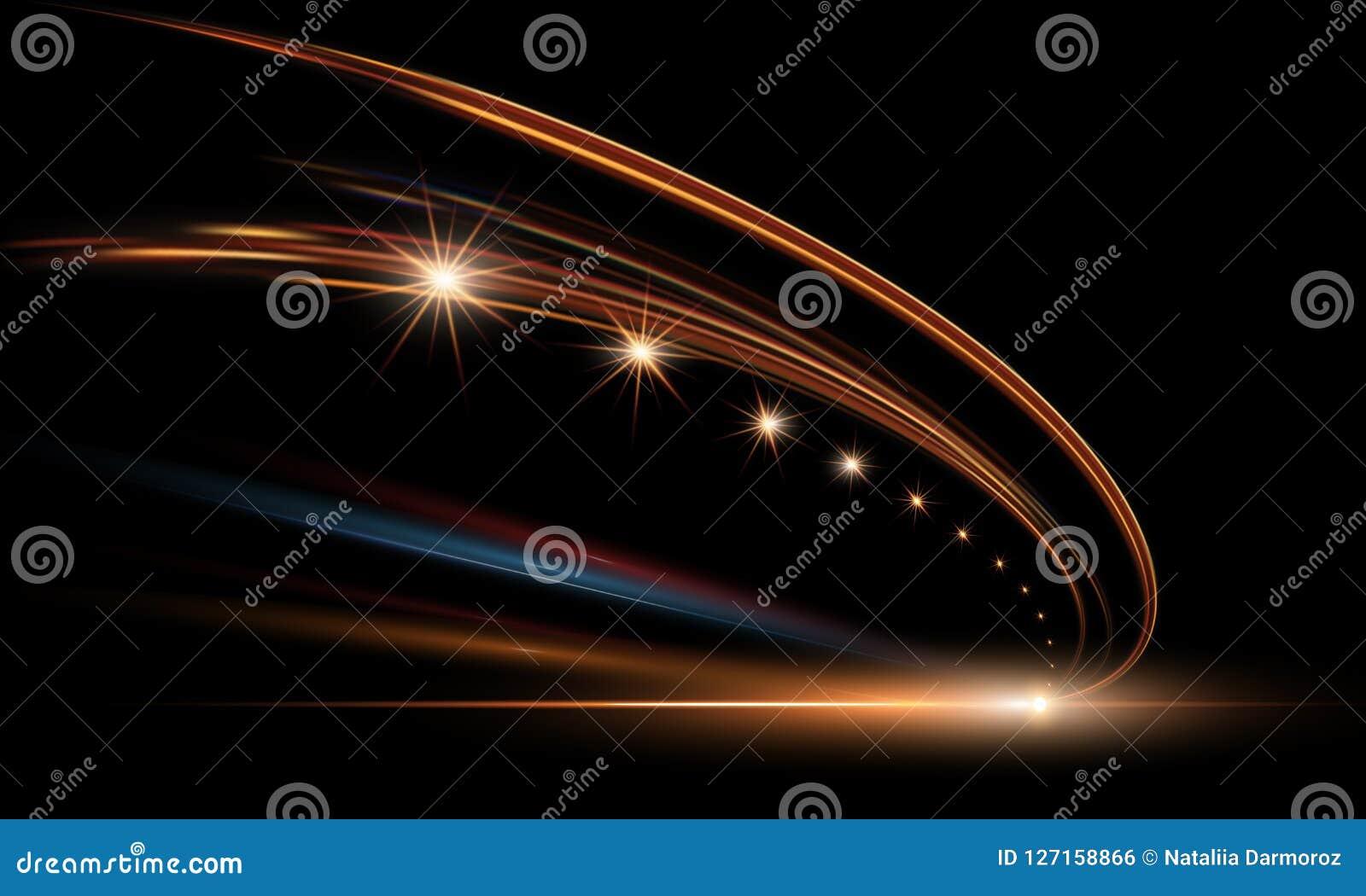 Vectorillustratie van dynamische lichten in dark Hoge snelheidsweg in nachtabstractie De auto lichte slepen van de stadsweg
