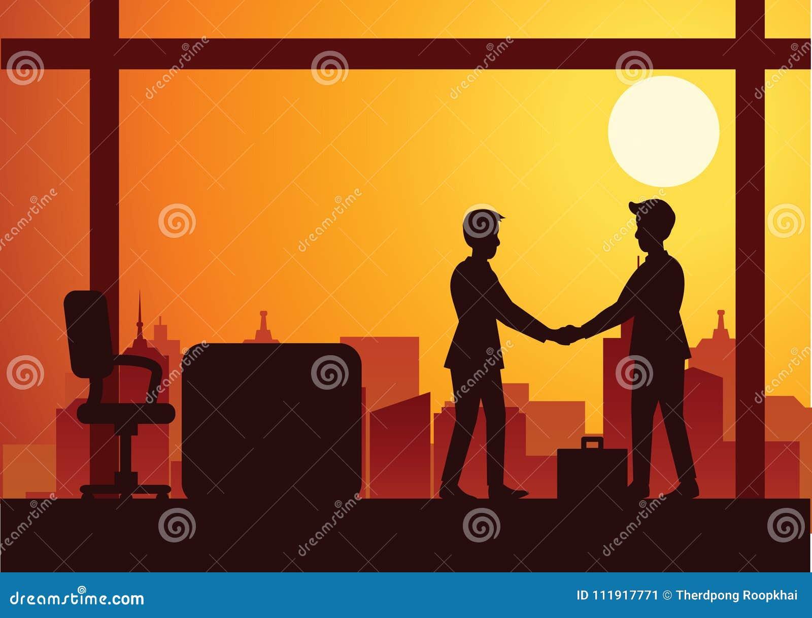 Vectorillustratie van een handdruk van twee zakenlieden, silhouet