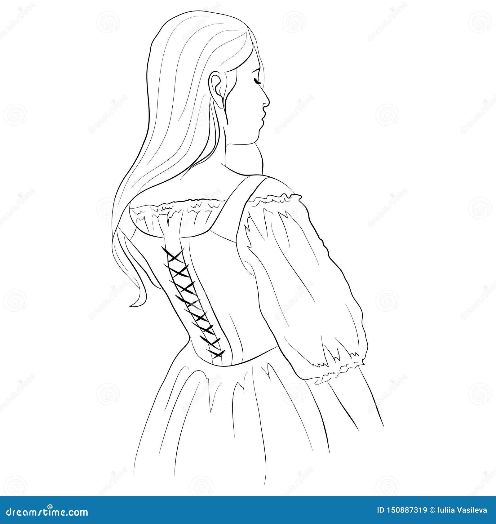 Vectorillustratie van een jong meisje die in een korset met stromend haar achteruitgaan
