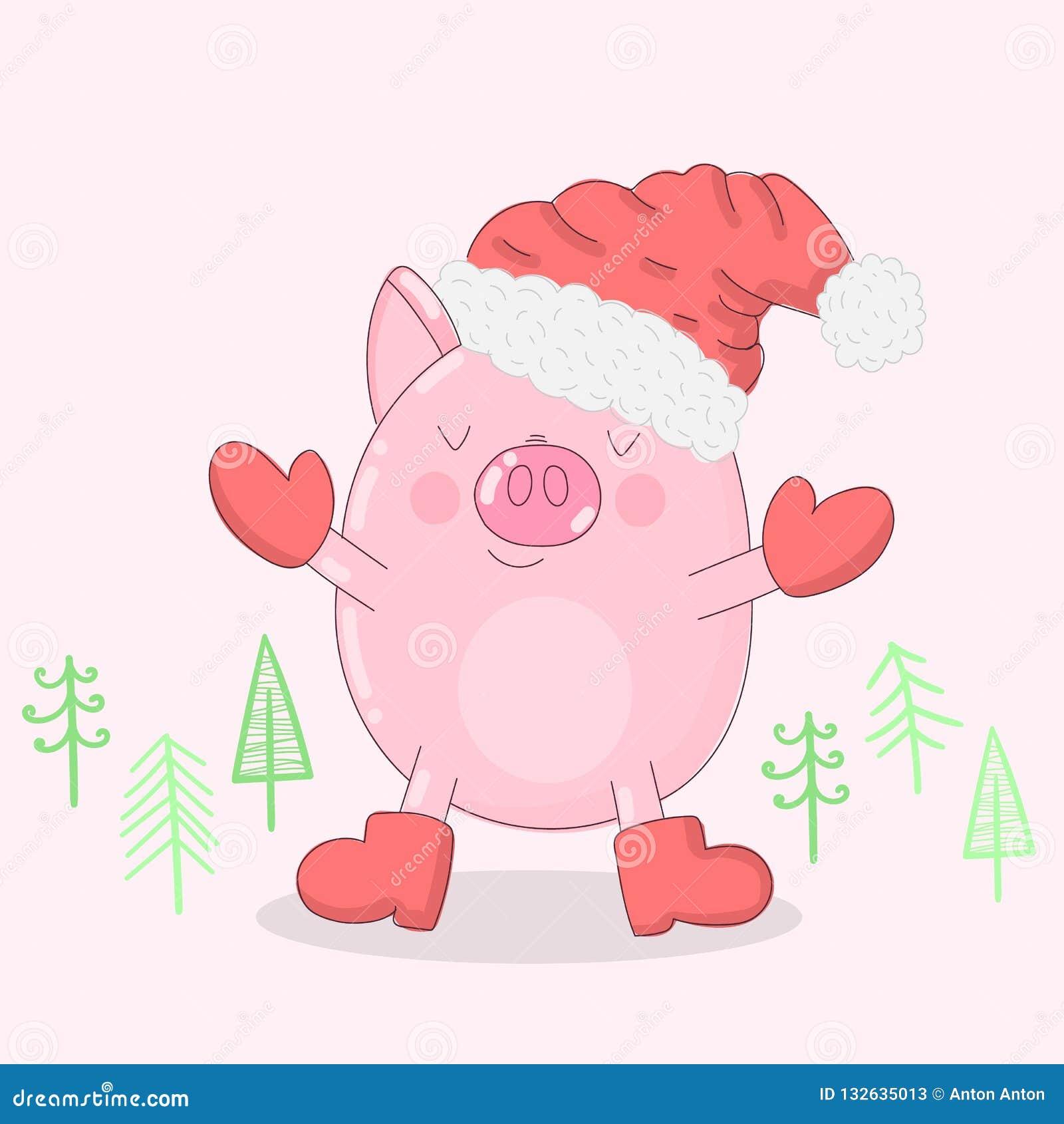 Vectorillustratie van een leuk varken in de winterkleren en Kerstbomen op een lichte achtergrond Beeld voor het Nieuwjaar, drukke