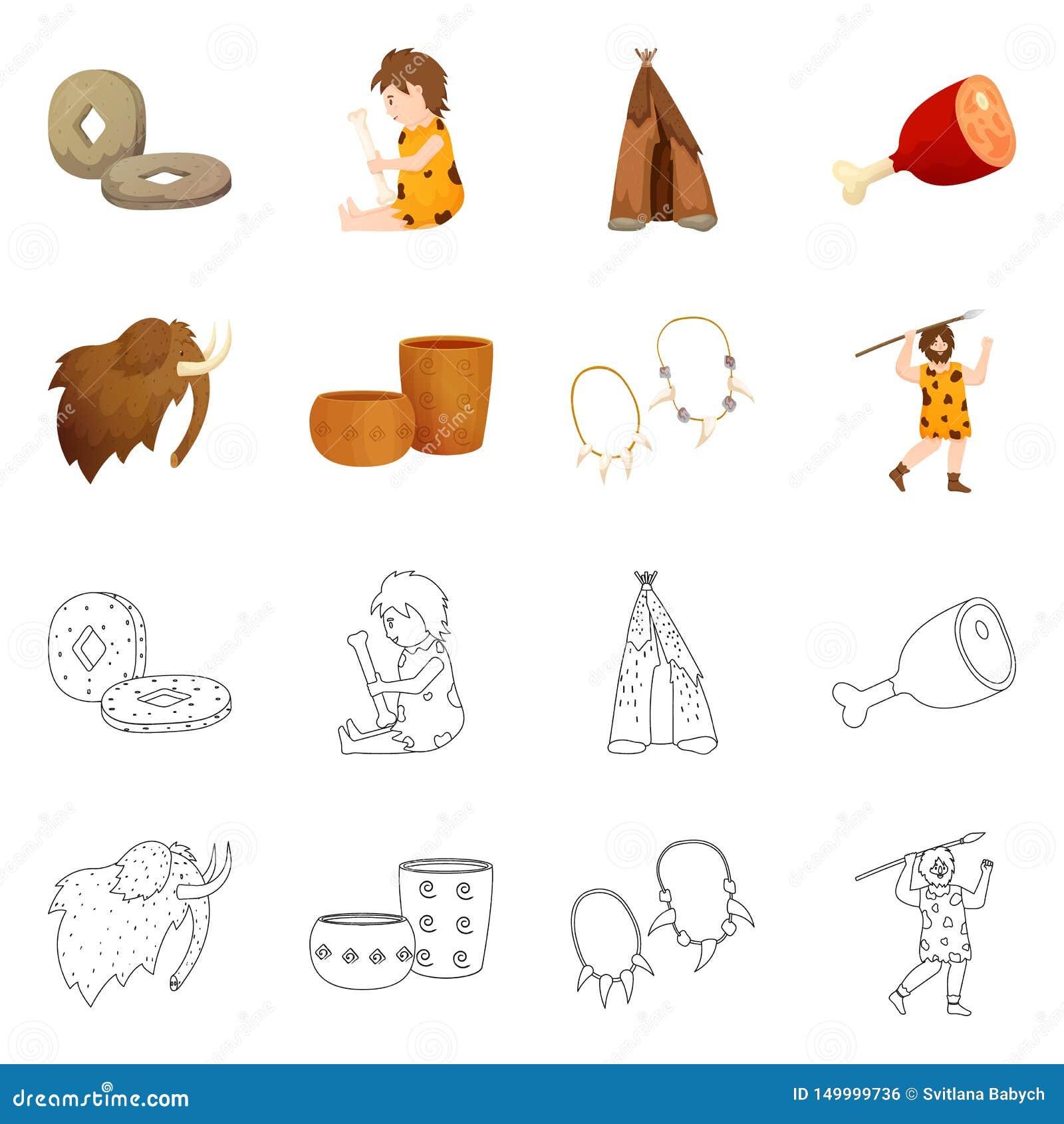 Vectorillustratie van evolutie en neolithisch pictogram Reeks van evolutie en ongerept voorraadsymbool voor Web