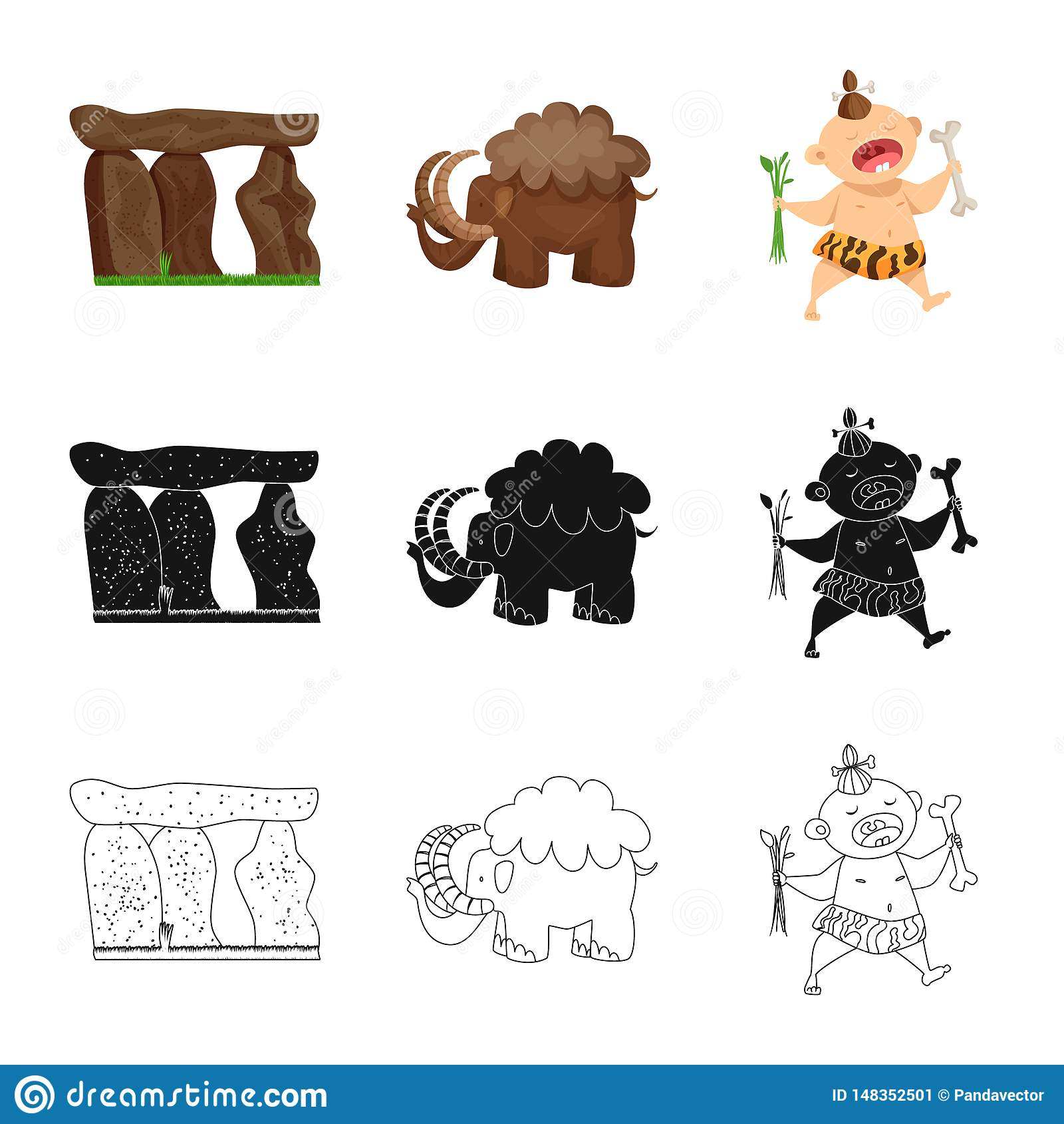 Vectorillustratie van evolutie en voorgeschiedenisteken Reeks van evolutie en ontwikkelingsvoorraadsymbool voor Web