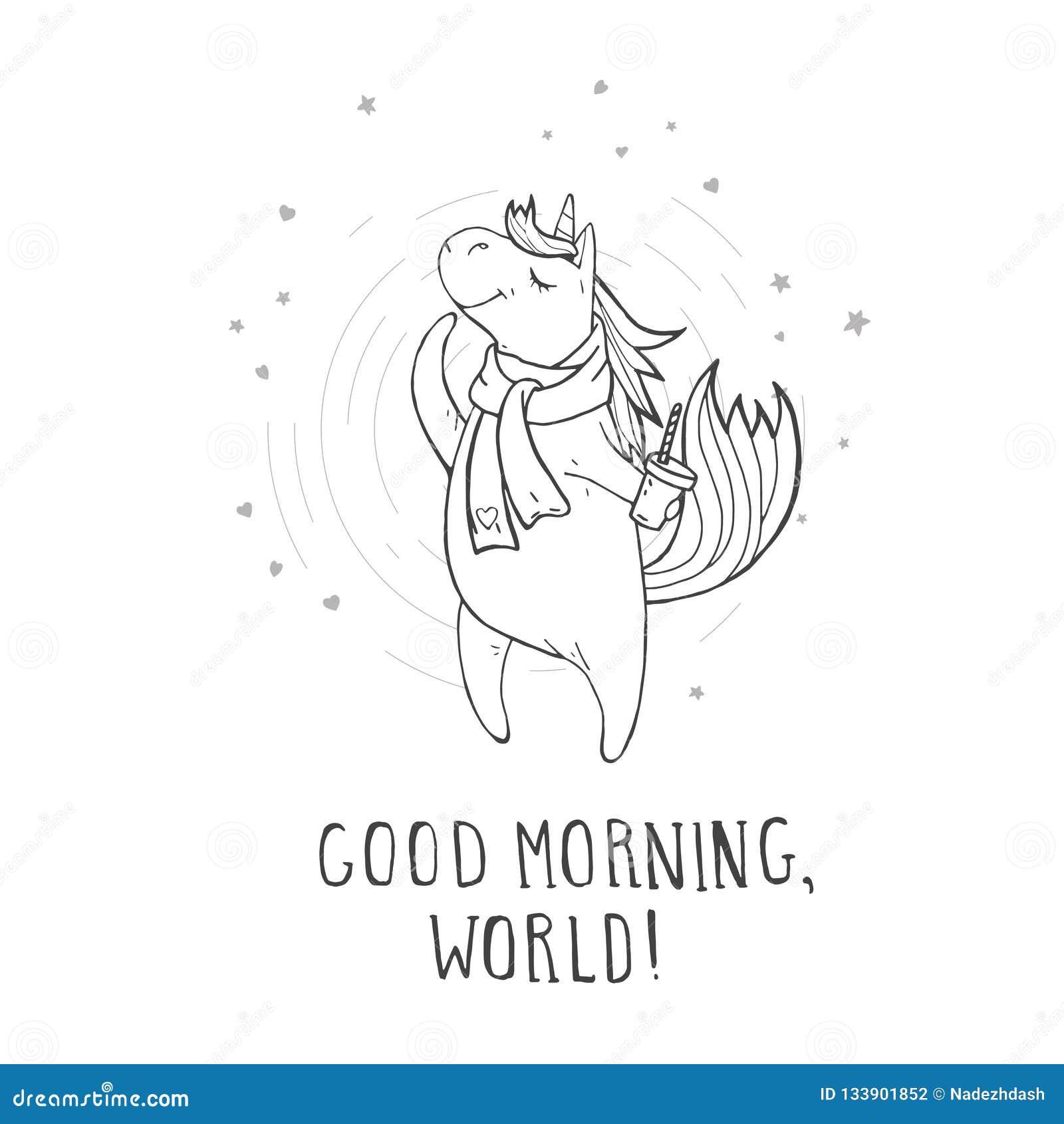 """Vectorillustratie van hand getrokken leuke eenhoorn in sjaal met koffie, harten en tekst†""""GOEDEMORGEN, WERELD!"""