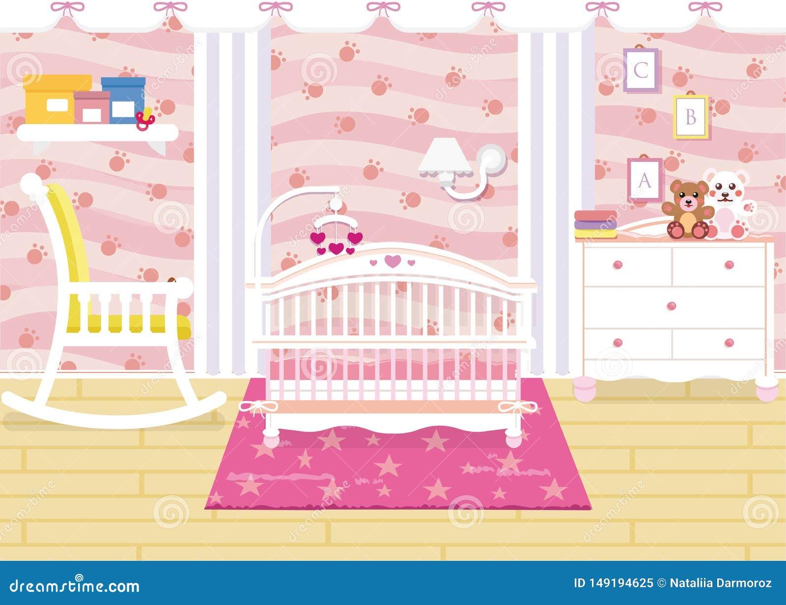 Vectorillustratie van het binnenland van de babyruimte met een plank, speelgoed, wieg, bedlijst, leunstoel Kinderens ruimte in ro