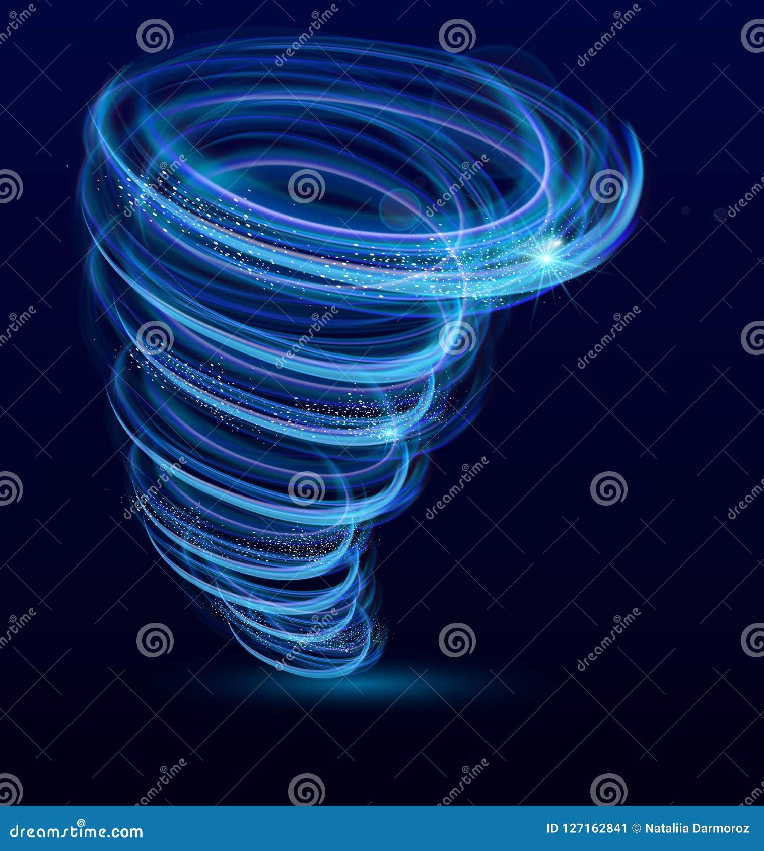 Vectorillustratie van het glanzen verlichte wervelwind, werveling, het gloeien tornado vectoreffect Tyfoonwervelwind, licht