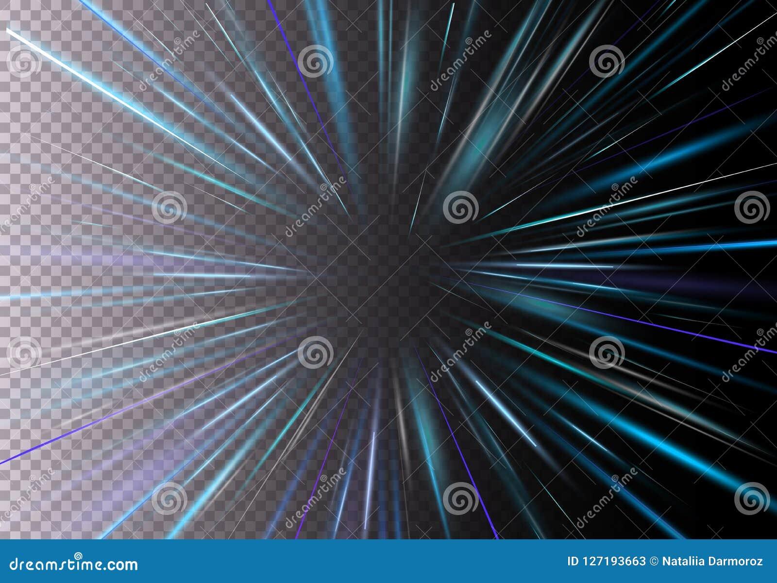 Vectorillustratie van hoge snelheid, motie lichteffect, licht met lensgloed Starburst snelle beweging op transparant