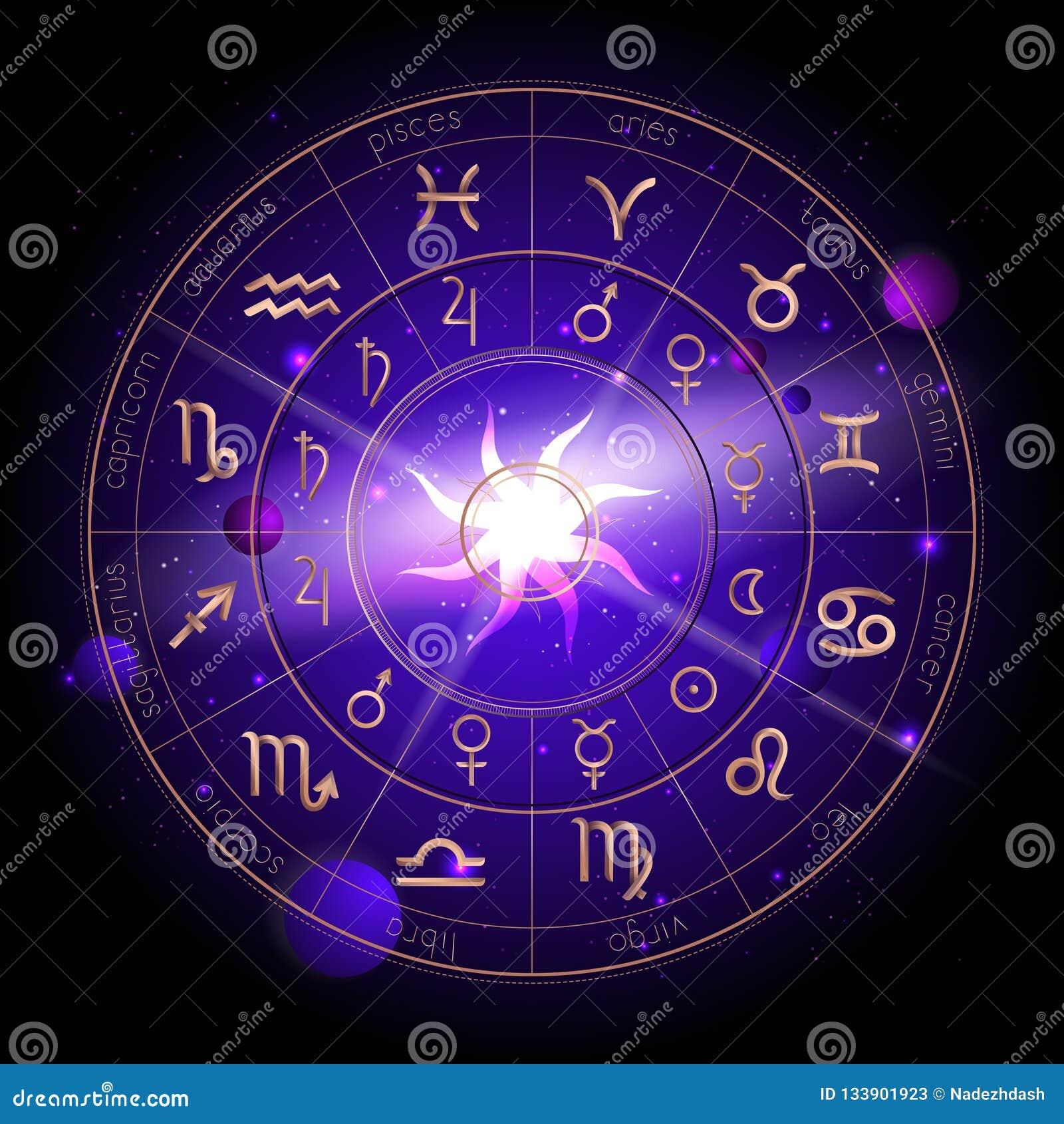 Vectorillustratie van Horoscoopcirkel, Dierenriemtekens en de planeten van de pictogrammenastrologie tegen de ruimteachtergrond