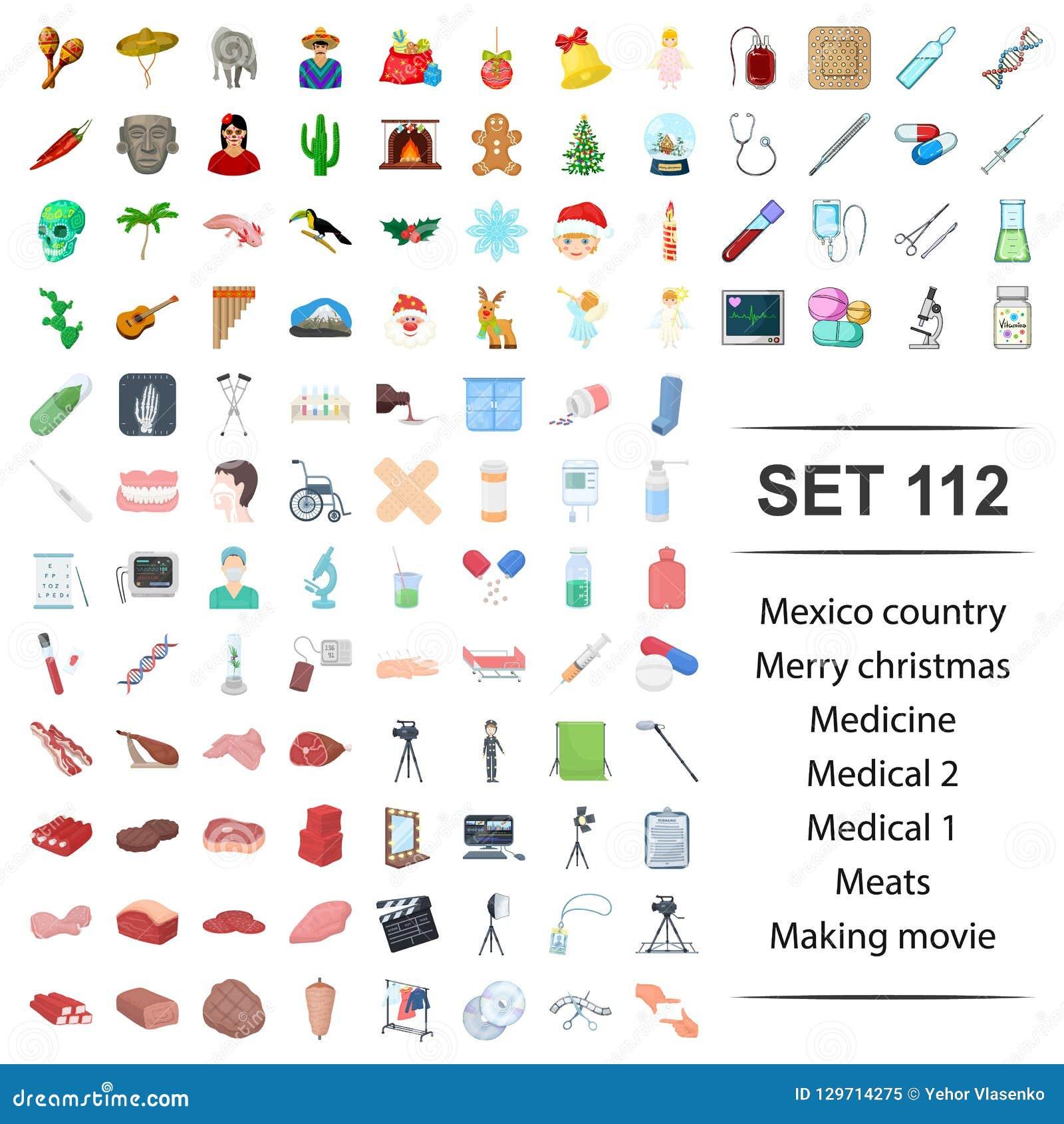 Vectorillustratie van Mexico, vrolijk land, Kerstmis die, geneeskunde medisch vlees de reeks van het filmpictogram maken