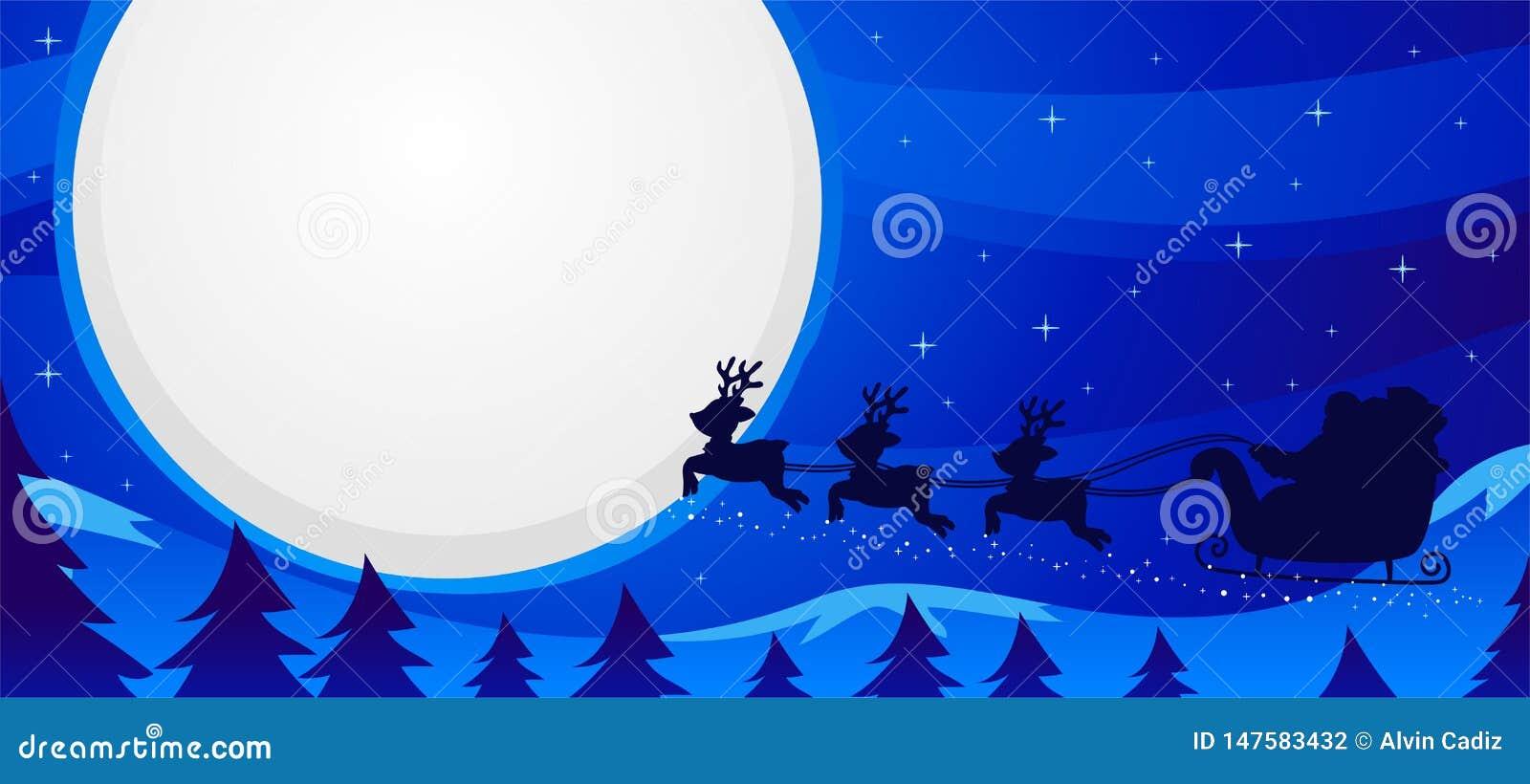 Vectorillustratie van Nachtscène Santa Sleigh Flying