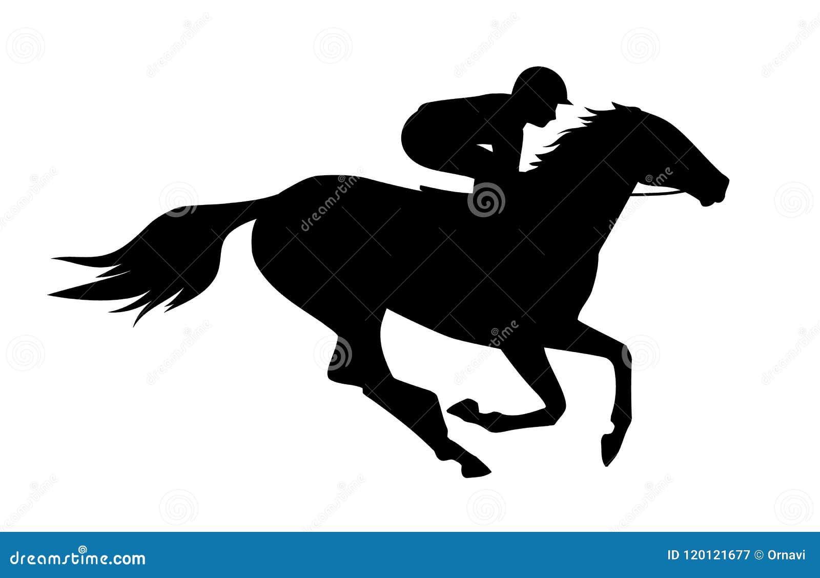 Vectorillustratie van raspaard met jockey Zwarte geïsoleerd silhouet op witte achtergrond Ruiter de concurrentieembleem