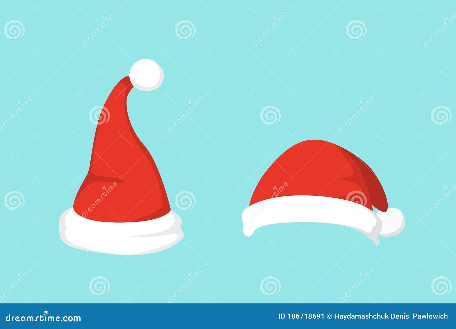 Vectorillustratie van reeks van Santa Hats in beeldverhaalontwerp