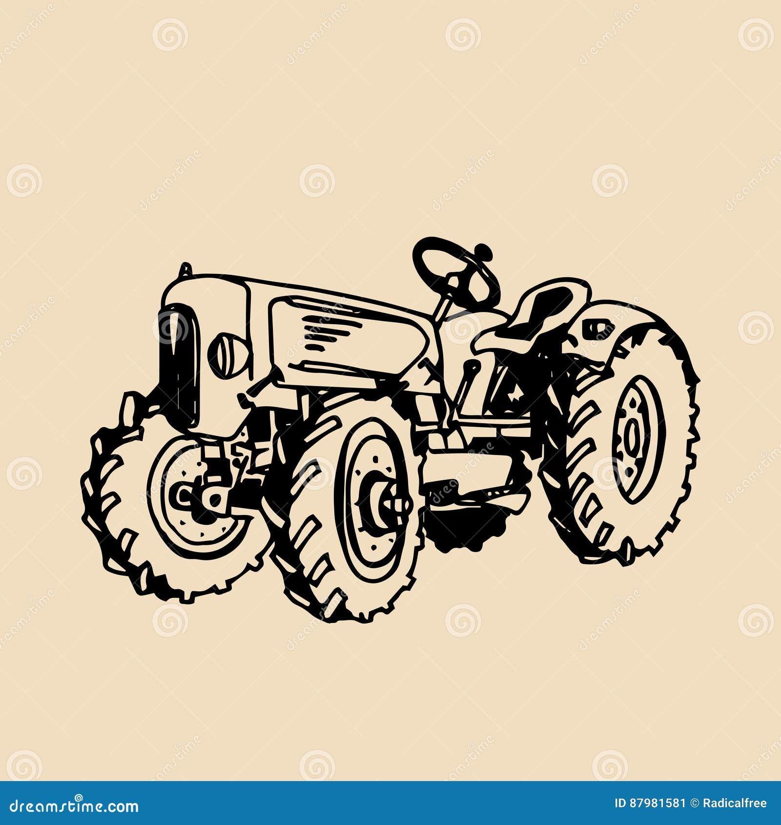 Vectorillustratie van retro tractor ter beschikking geschetst stijl Landbouwbedrijf verse logotype Biologische productenkenteken