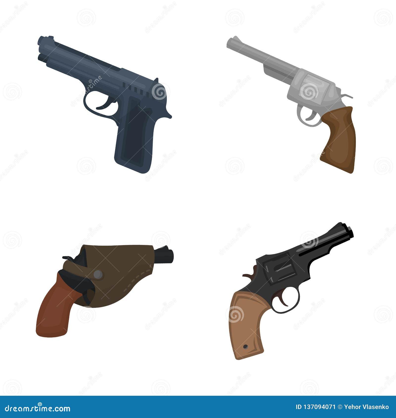 Vectorillustratie van revolver en pistoolsymbool Reeks van revolver en het symbool van de trekkervoorraad voor Web