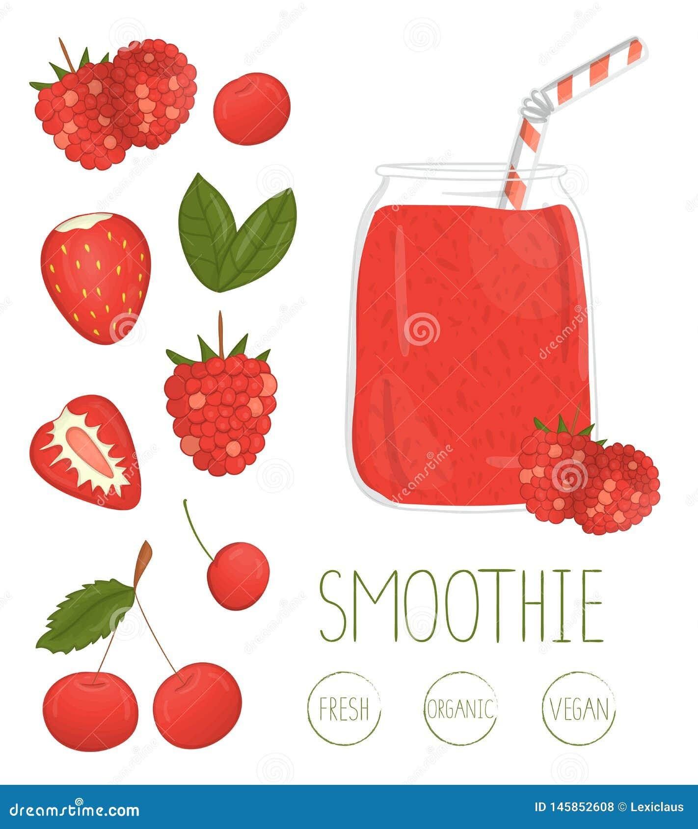 Vectorillustratie van rode bes smoothie in een glaskruik