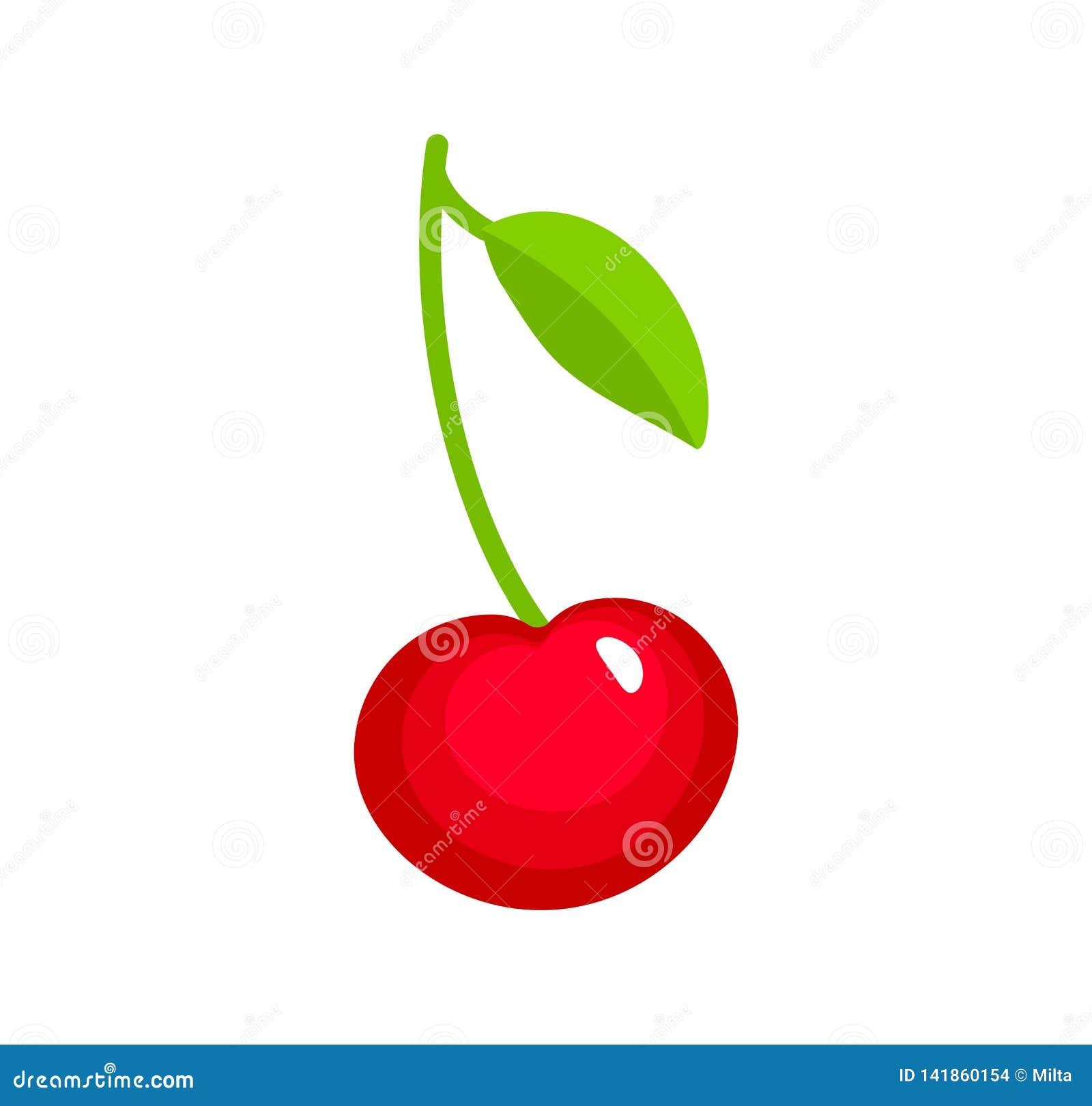 Vectorillustratie van rode rijpe kers met stam & bladeren Vlakke pictogramreeks van organische verse bes Natuurlijk vegetarisch v