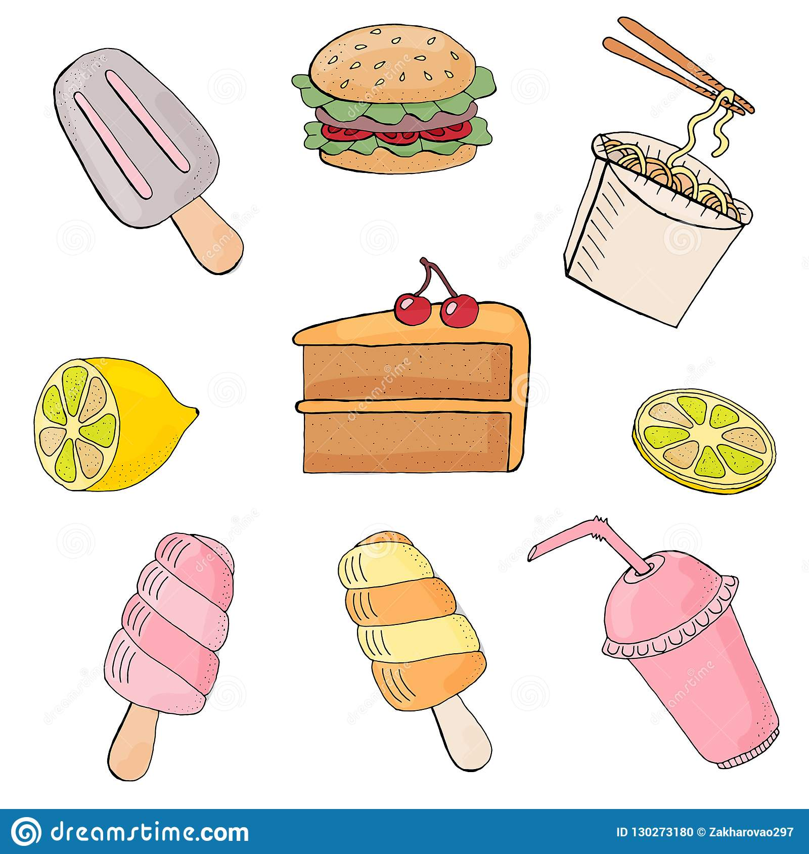 Vectorillustratie van Seth-voedsel Op witte achtergrond