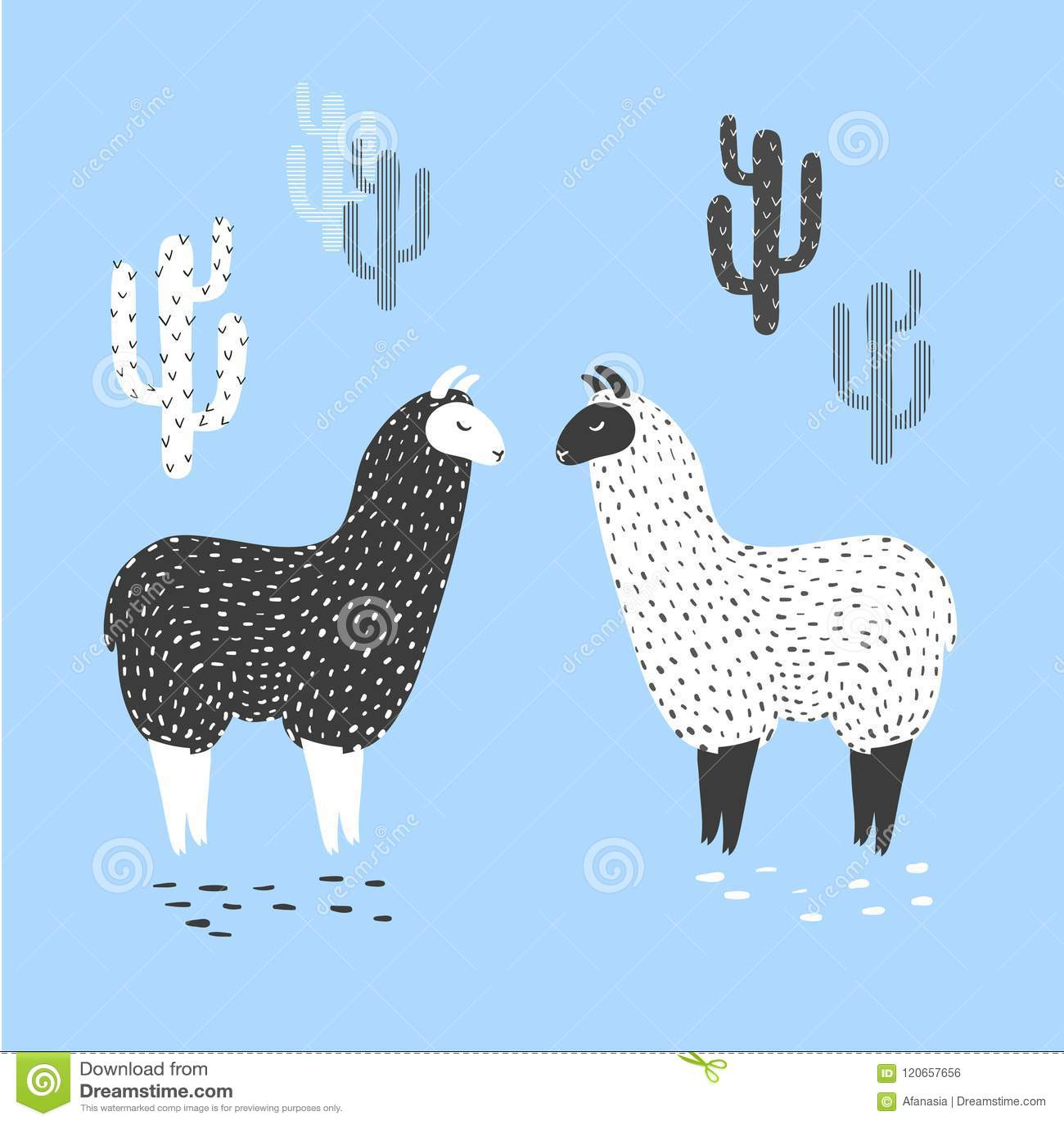 Vectorillustratie van twee leuke lama s en cactus