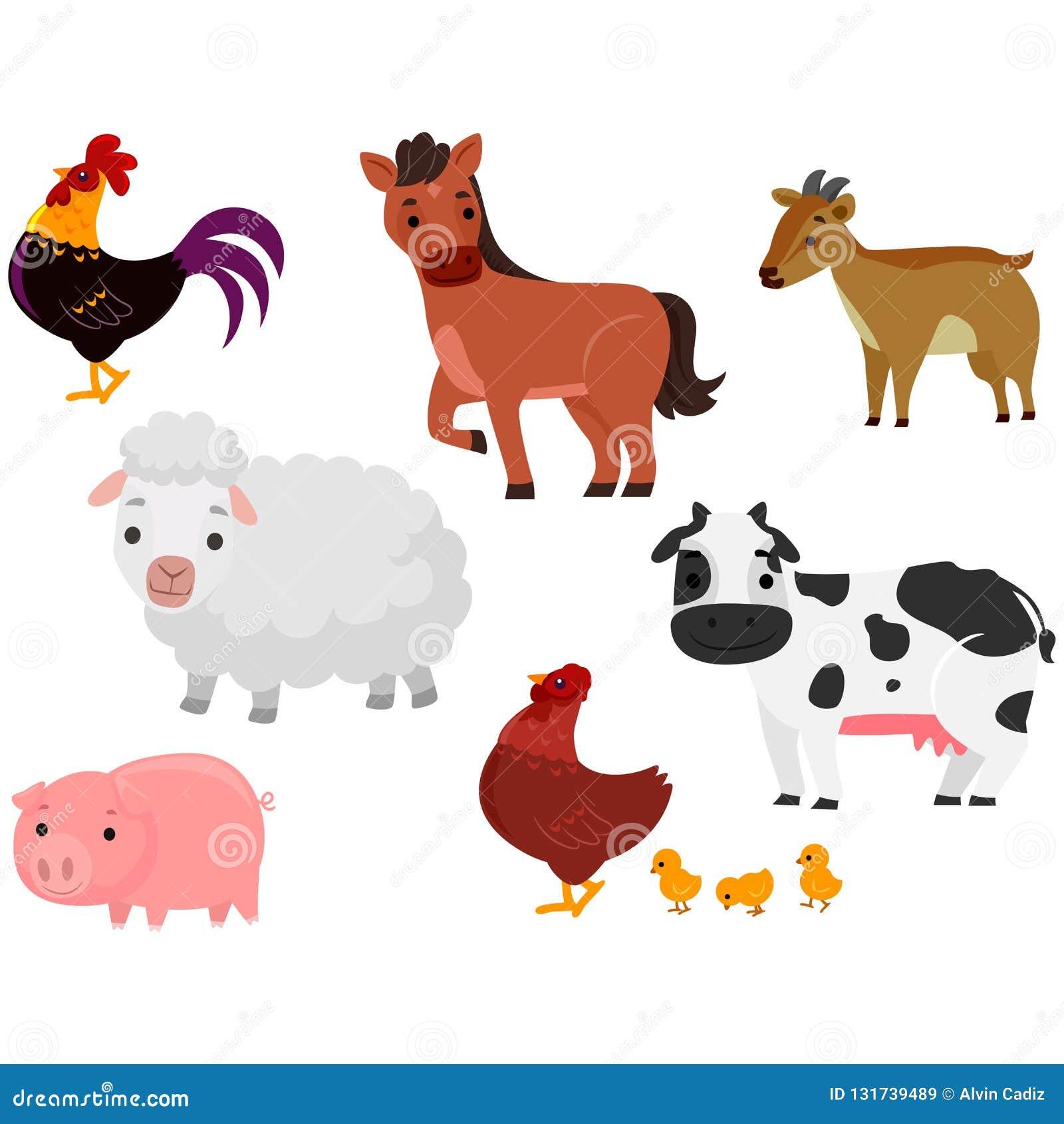 Vectorillustratie van Verschillende Landbouwbedrijfdieren op witte achtergrond