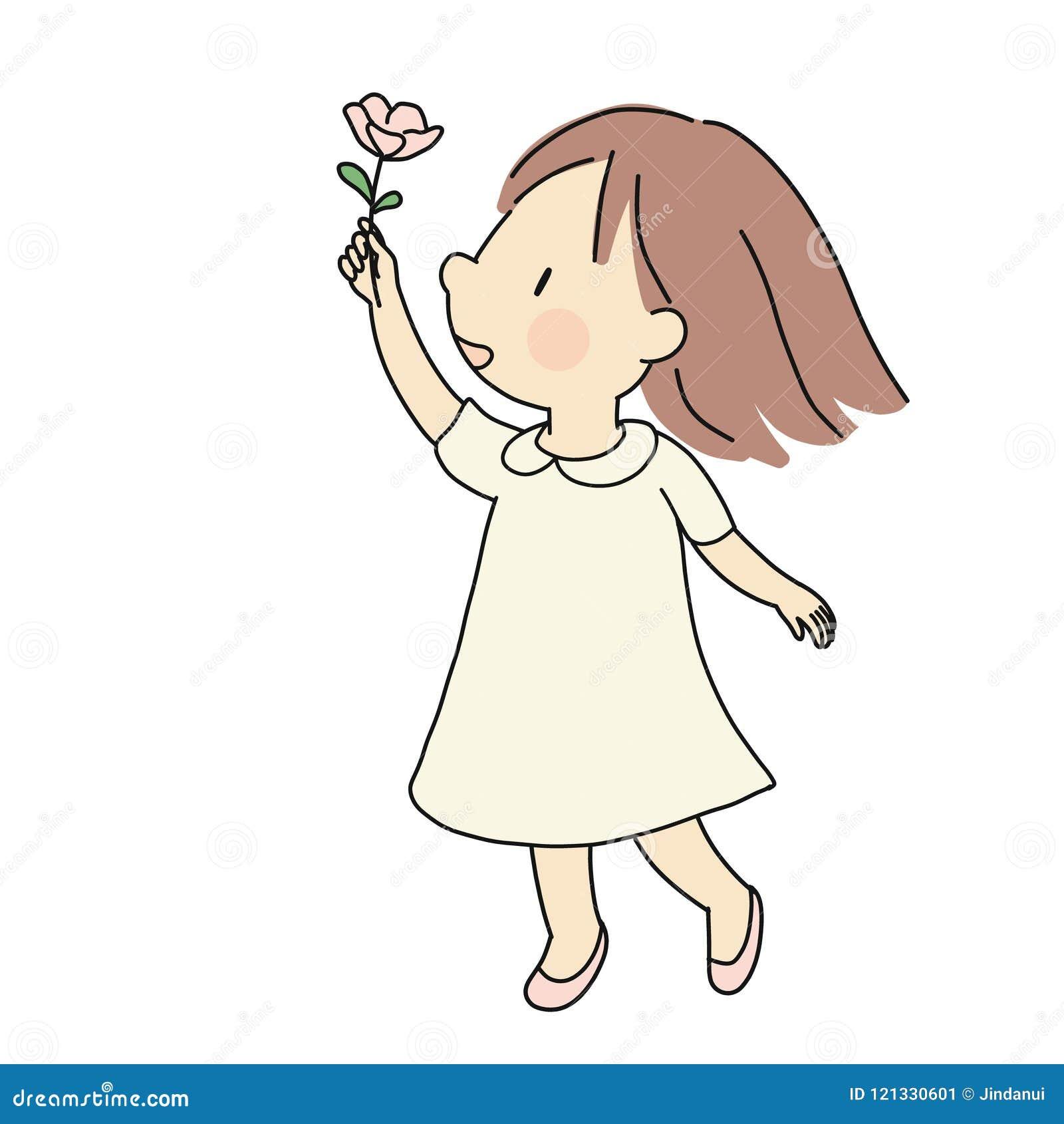 Vectorillustratie van weinig gelukkig jong geitjemeisje die roze bloem geven Geluk, liefde, van de moederdag en van de valentijns