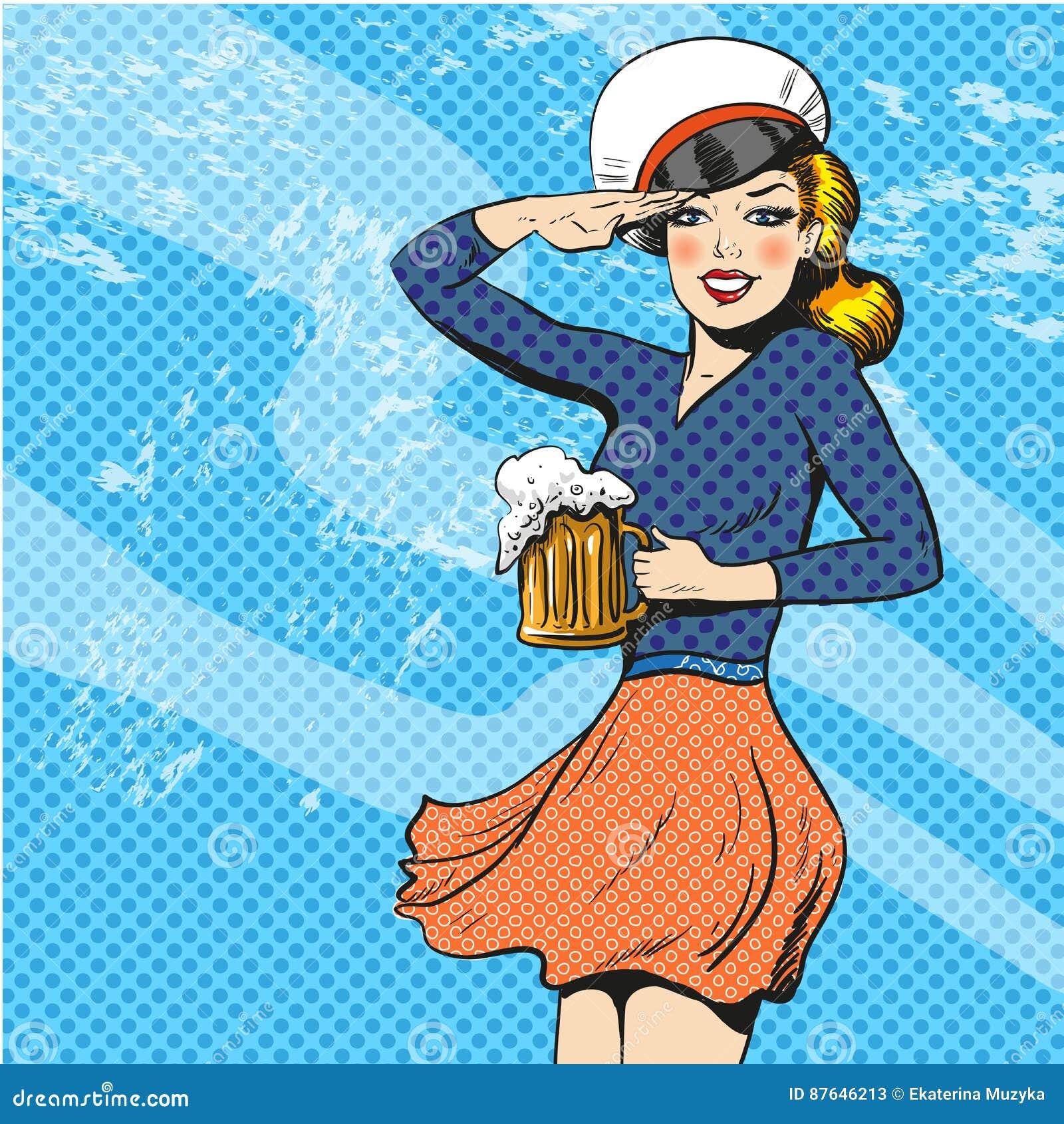 Vectorillustratie van zeemansvrouw, retro pop-art grappige stijl