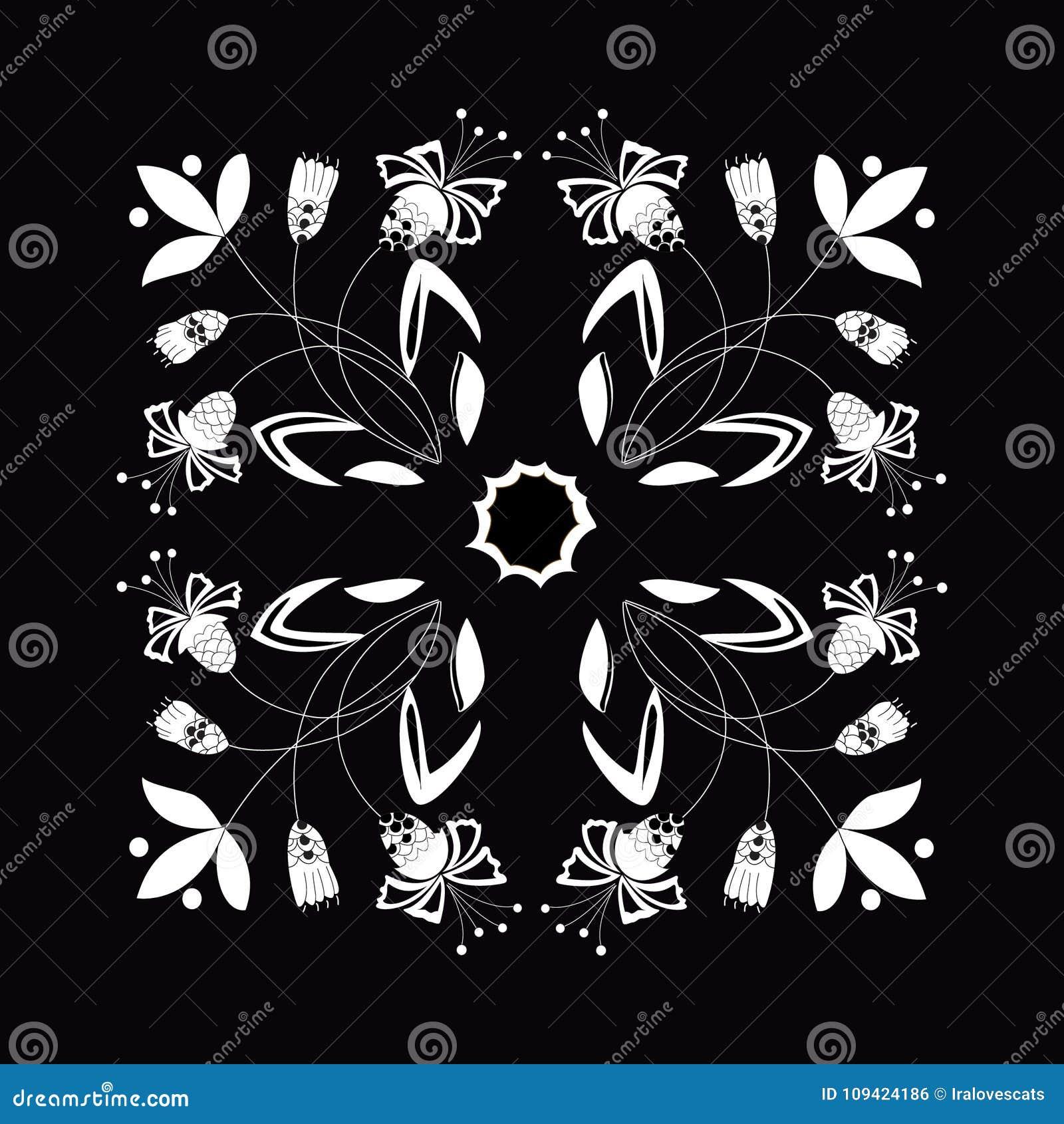 Vectorillustratie van zwart-wit naadloos bloemenornament