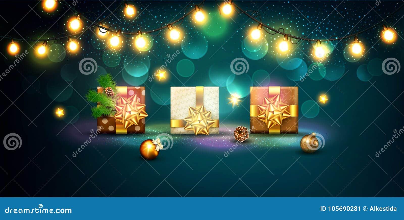 Vectorillustratie voor Vrolijke Kerstmis en Gelukkig Nieuwjaar Gre